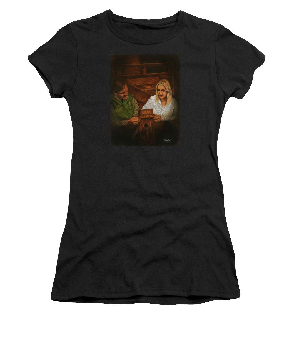 Portrait Women's T-Shirt (Athletic Fit) featuring the painting The Guide by Sherryl Lapping