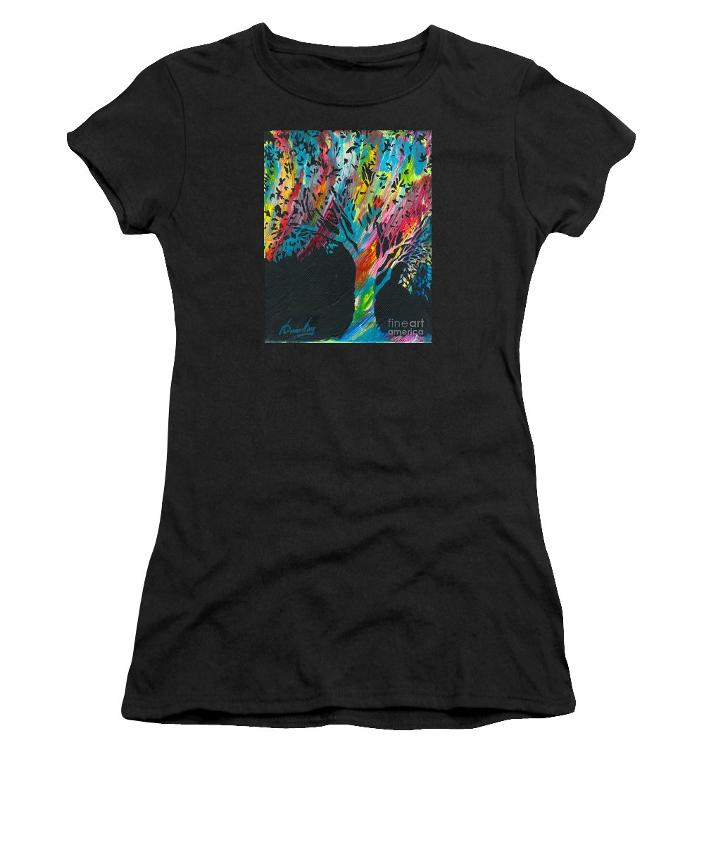 Multicolored Tree Women's T-Shirt featuring the painting The Happy Tree by Denise Hoag