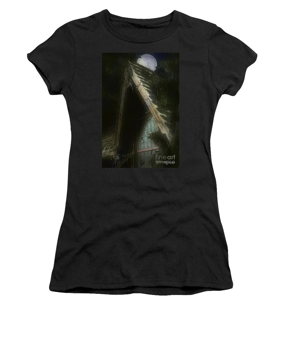 House Women's T-Shirt (Athletic Fit) featuring the painting The Haunted Gable by RC DeWinter