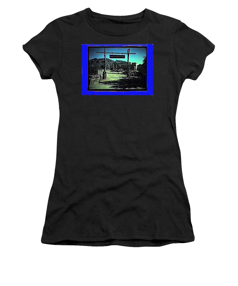 The High Chaparral Set 1984 Collage Old Tucson Arizona 1984-2012 Women's T-Shirt (Athletic Fit) featuring the photograph The High Chaparral Set 1984 Collage Old Tucson Arizona 1984-2012 by David Lee Guss