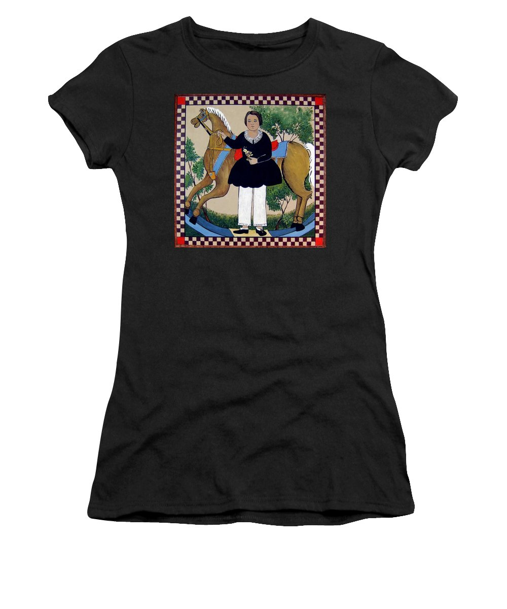 Early American Women's T-Shirt featuring the painting The Hobby Horse by Joan Shaver
