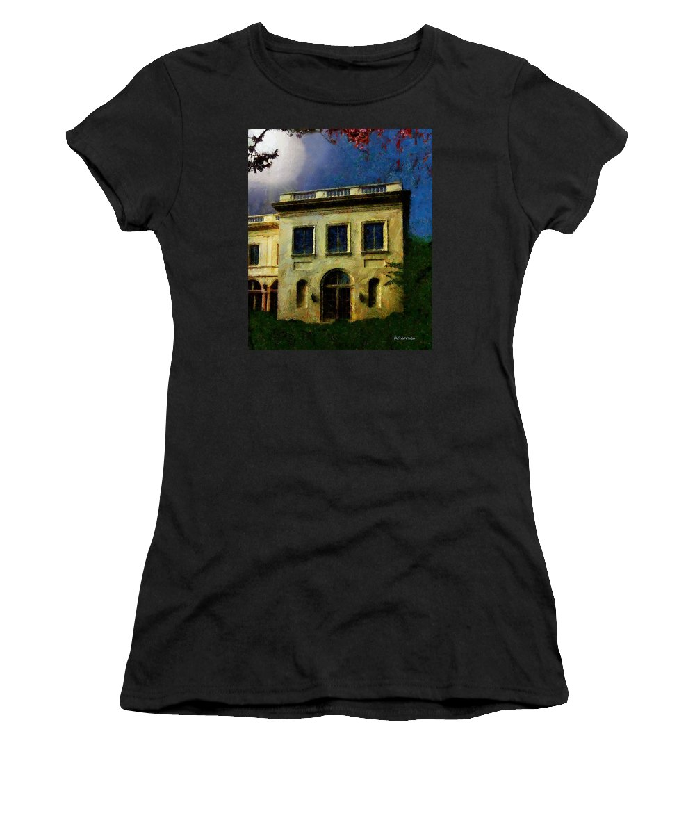 Landscape Women's T-Shirt (Athletic Fit) featuring the painting The House On The Hill by RC DeWinter