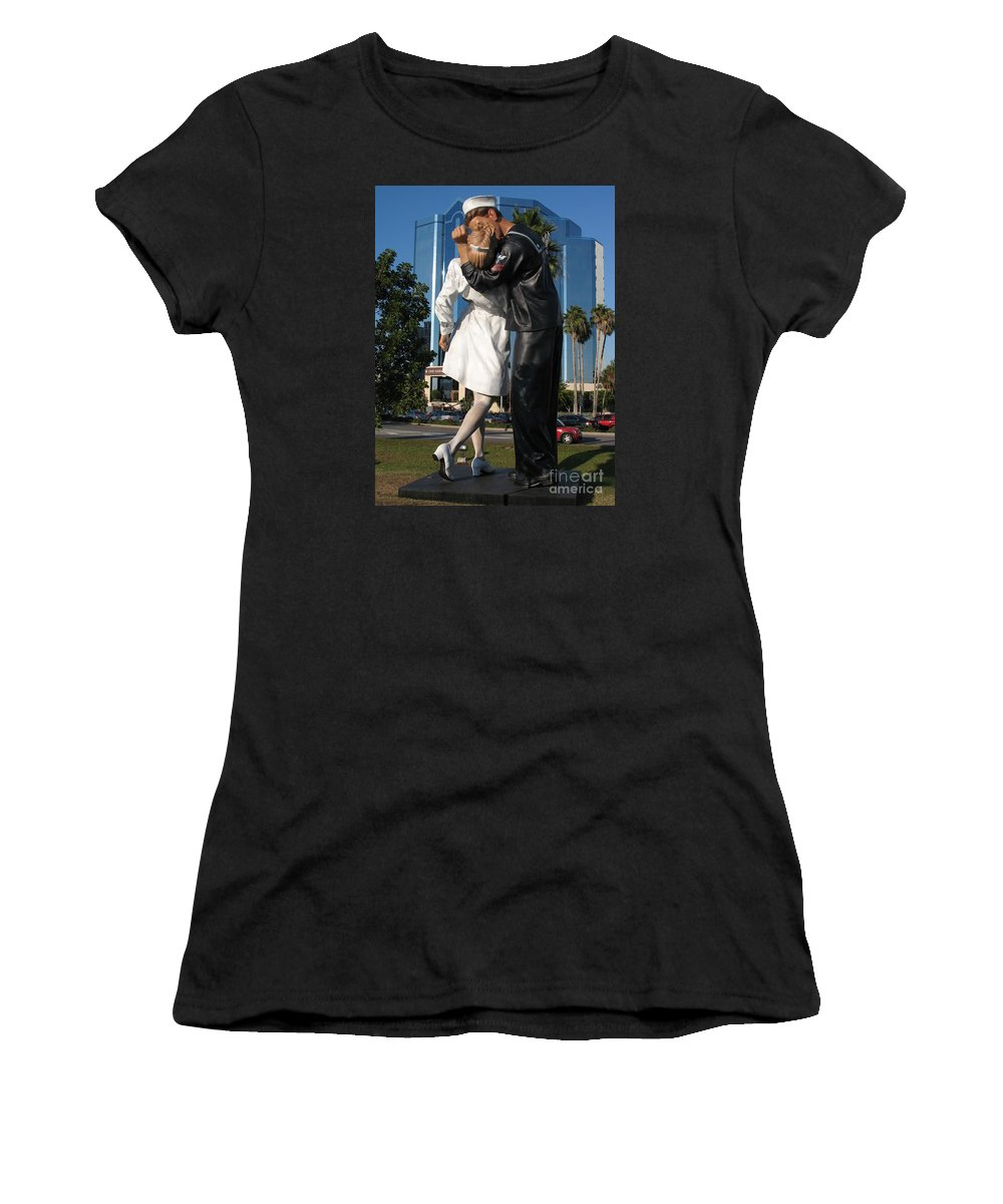 Sailor Women's T-Shirt featuring the photograph The Kiss - Sailor And Nurse - Sarasota by Christiane Schulze Art And Photography