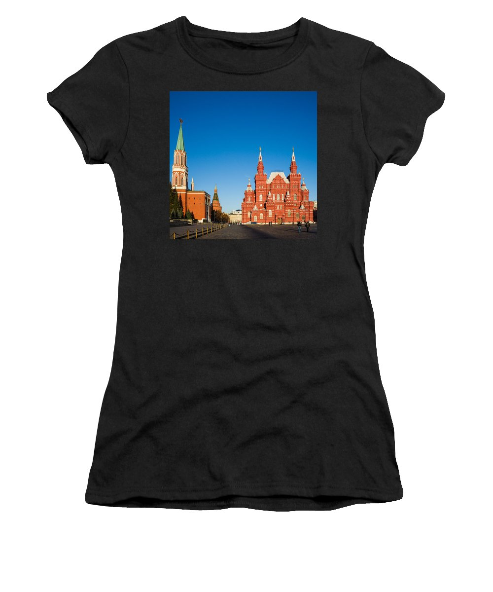 Architecture Women's T-Shirt (Athletic Fit) featuring the photograph The Kremlin Towers And The State Museum Of Russian History - Square by Alexander Senin