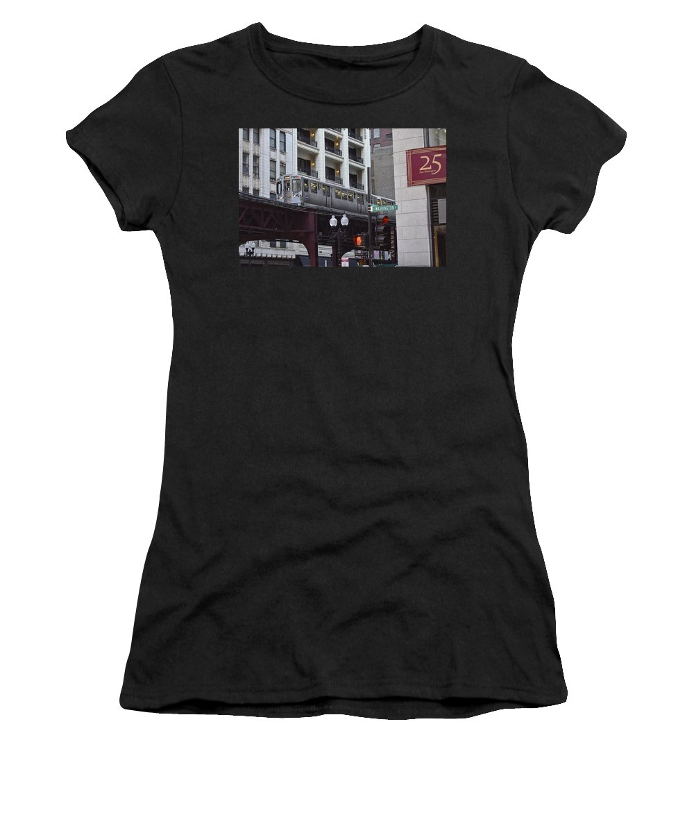 Chicago Women's T-Shirt (Athletic Fit) featuring the photograph The L by Frozen in Time Fine Art Photography