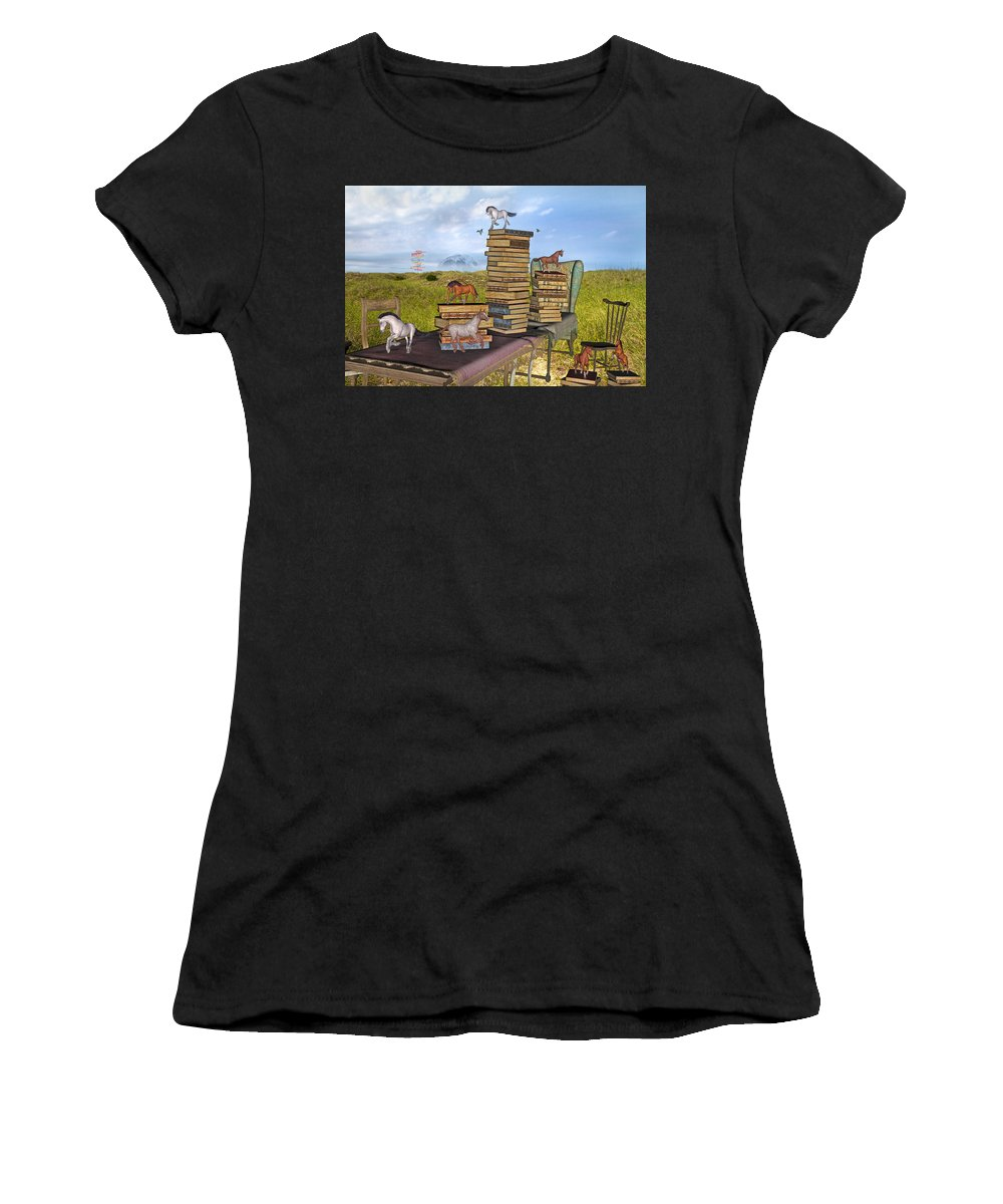 Library Women's T-Shirt (Athletic Fit) featuring the mixed media The Library Your Local Treasure by Betsy Knapp