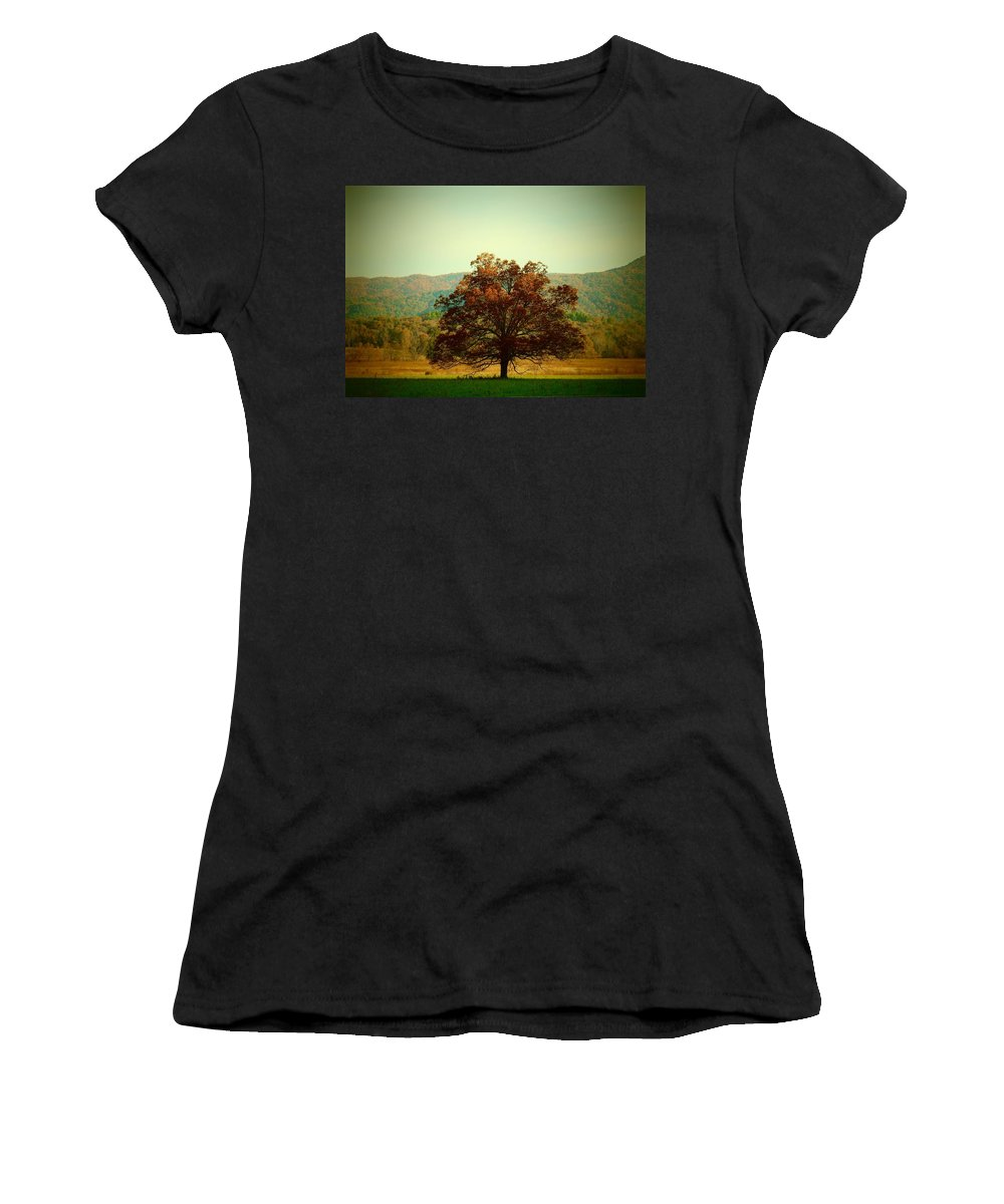 Landscape Women's T-Shirt featuring the photograph The Lonely Tree by Kathy R Thomas