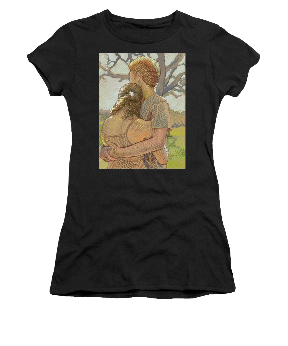 Couple Women's T-Shirt (Athletic Fit) featuring the drawing The Lovers by Dominique Amendola