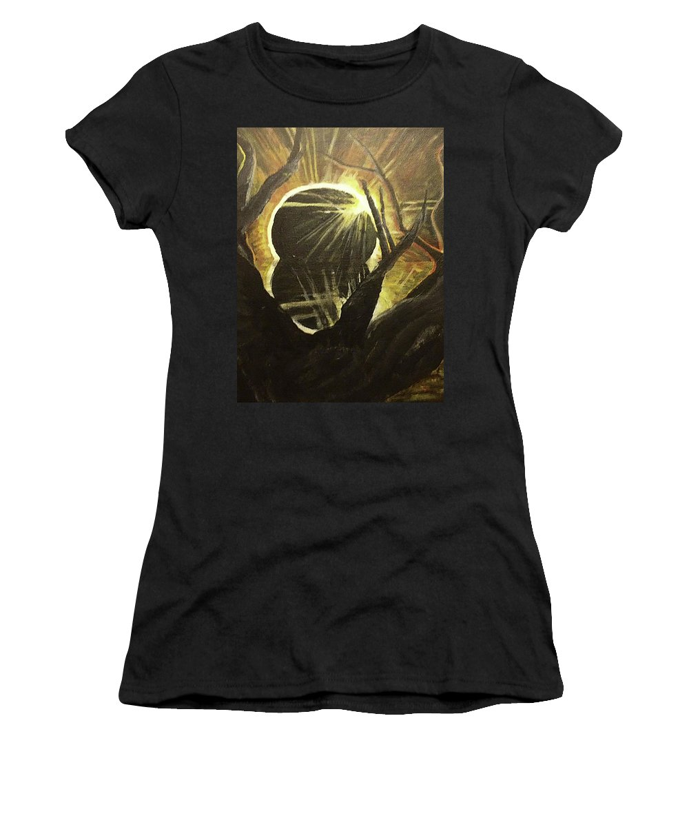 Eclipse Women's T-Shirt featuring the painting The Luminous Eclipse by Fallon Franzen