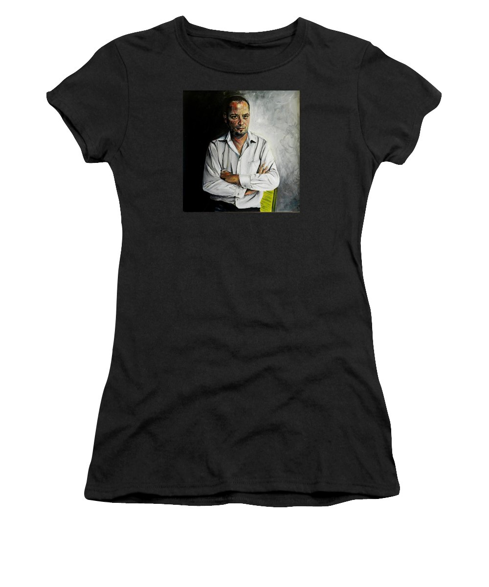 Marketing Women's T-Shirt featuring the painting The Marketing Man by Jolante Hesse