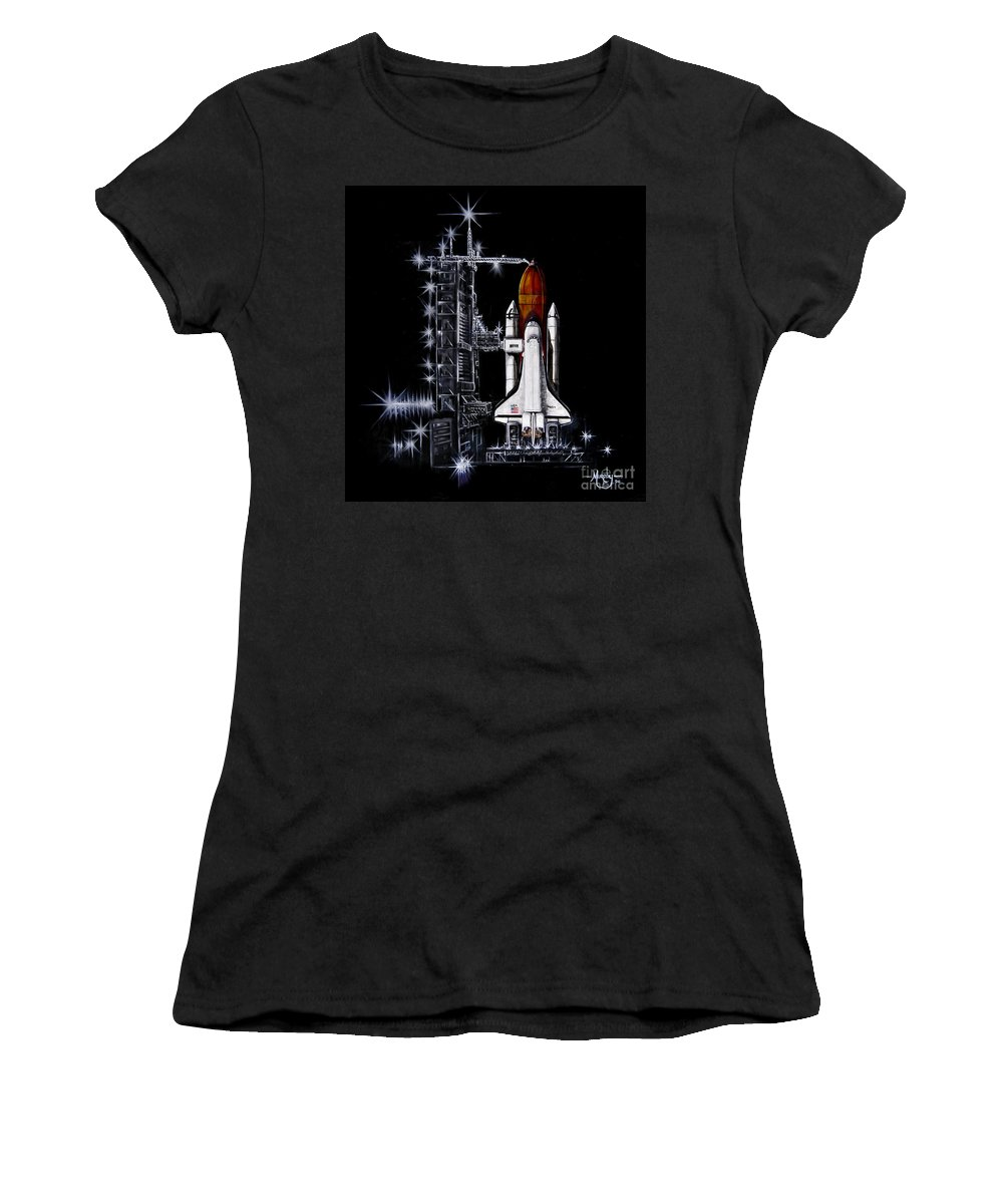 Shuttle Women's T-Shirt (Athletic Fit) featuring the painting The Night Before by Murphy Elliott