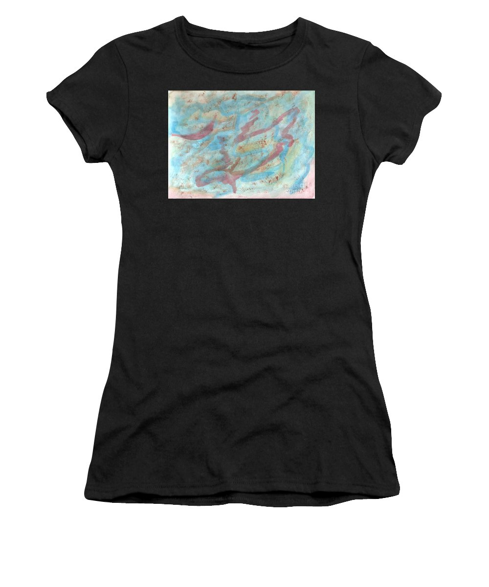 Abstract Women's T-Shirt (Athletic Fit) featuring the painting The Night In Farmington Hills by Myrtle Joy