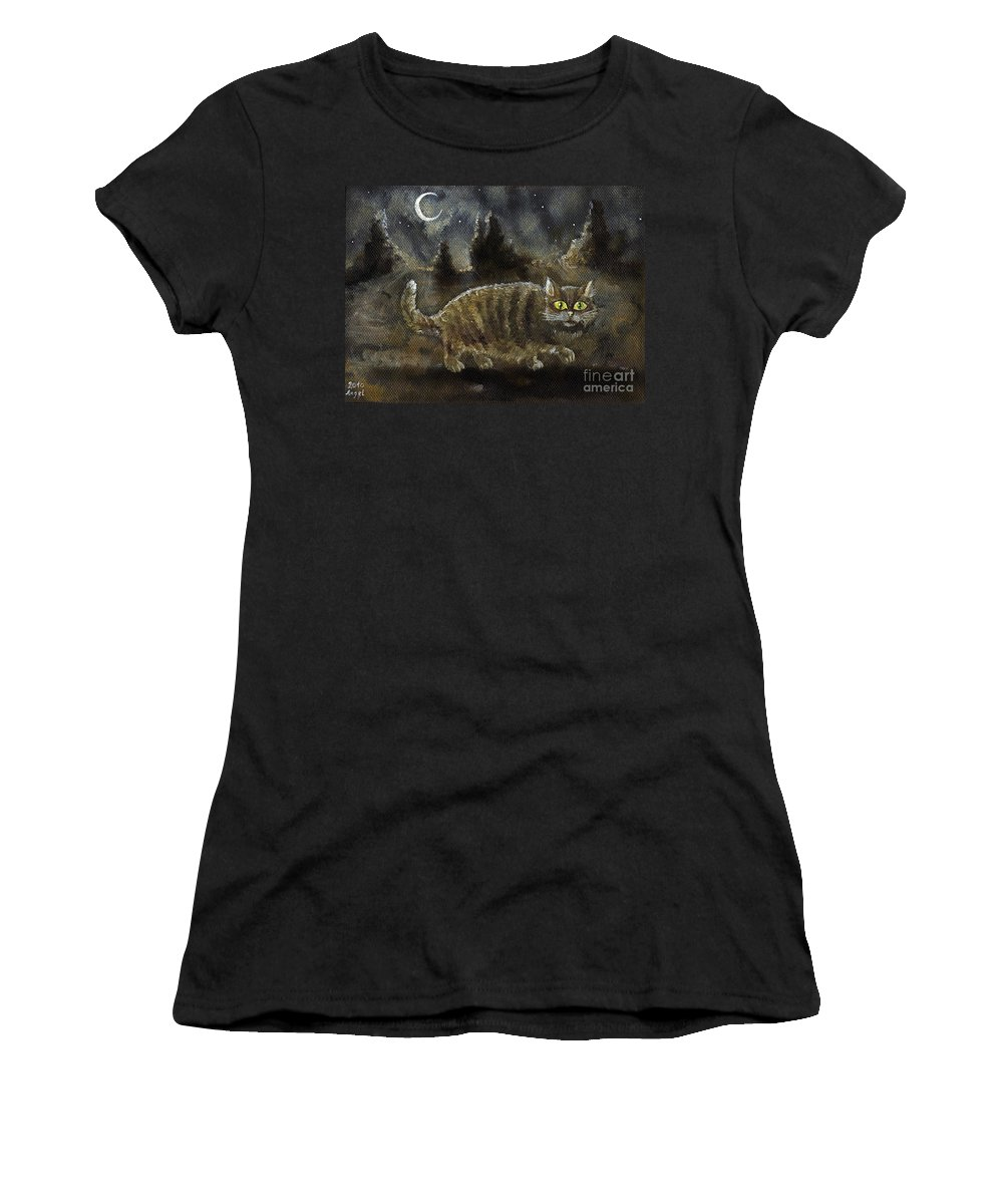 Cat Women's T-Shirt featuring the painting The Night Stalker by Angel Ciesniarska