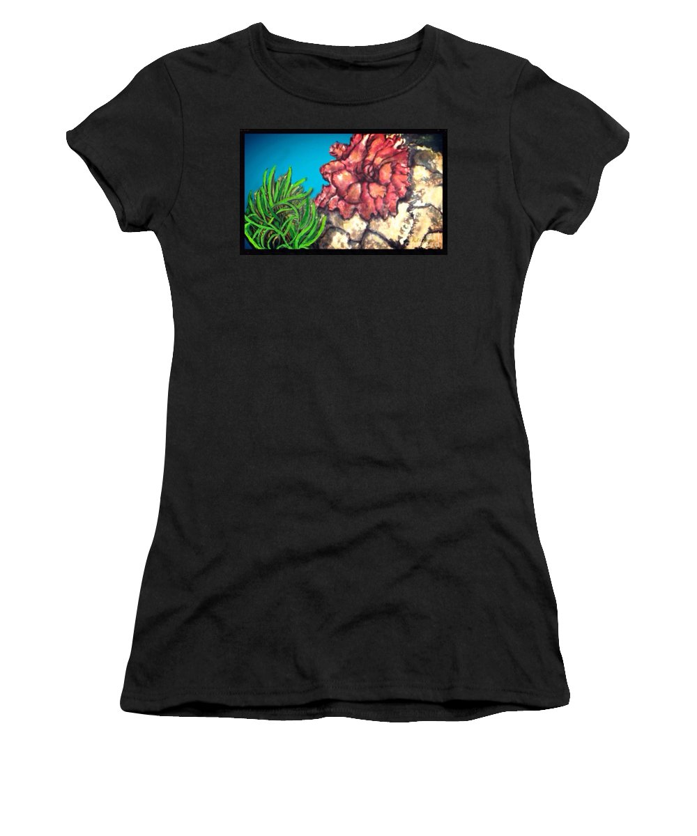 Nature Water Scene Blue Green Golden Orange Coral Sea Anemones Blue Water Taupe Sand Women's T-Shirt (Athletic Fit) featuring the painting The Odd Couple Two Very Different Sea Anemones Cohabitat by Kimberlee Baxter