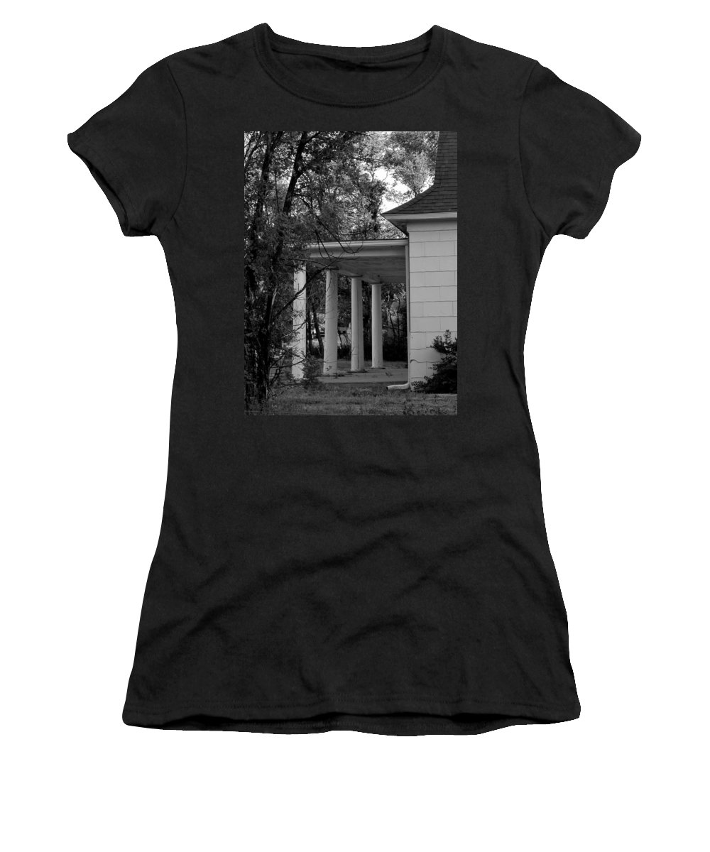 Home Women's T-Shirt (Athletic Fit) featuring the photograph The Old Homestead In Black And White by Joyce Dickens
