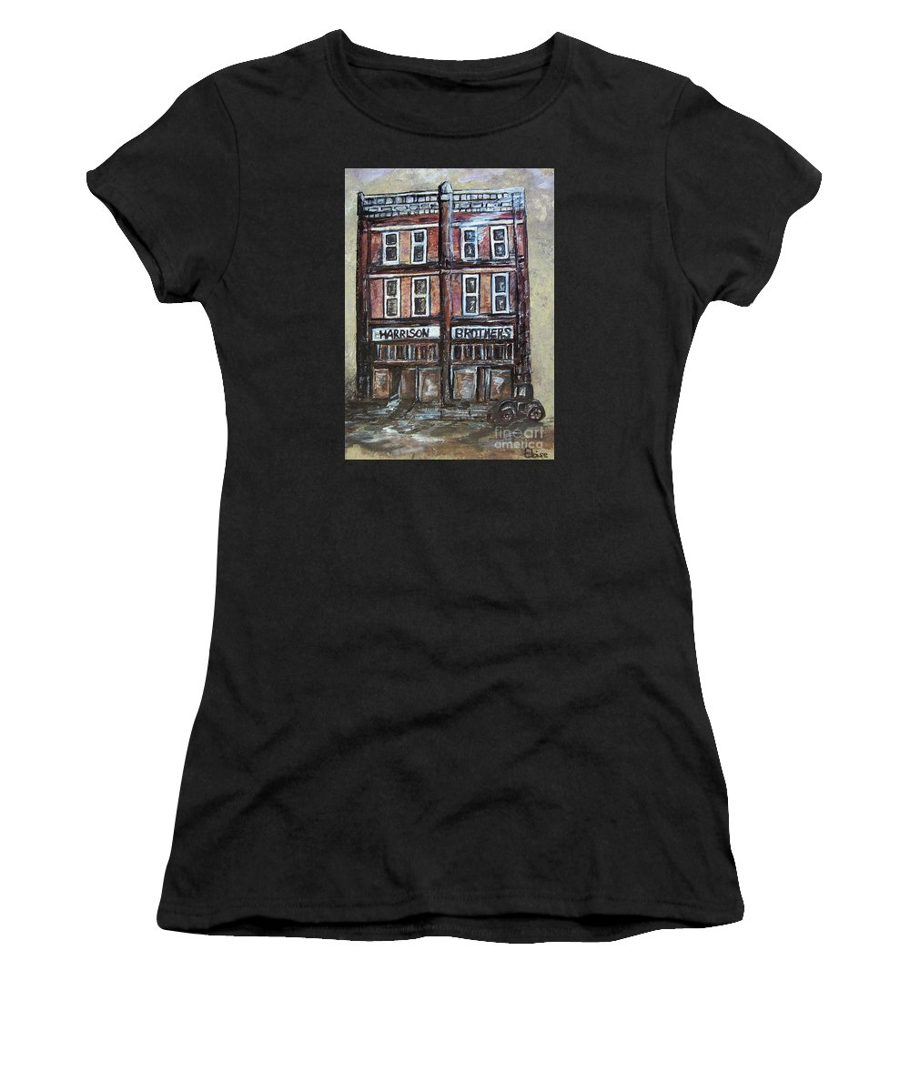 Historic Women's T-Shirt featuring the painting The Old Store by Eloise Schneider Mote
