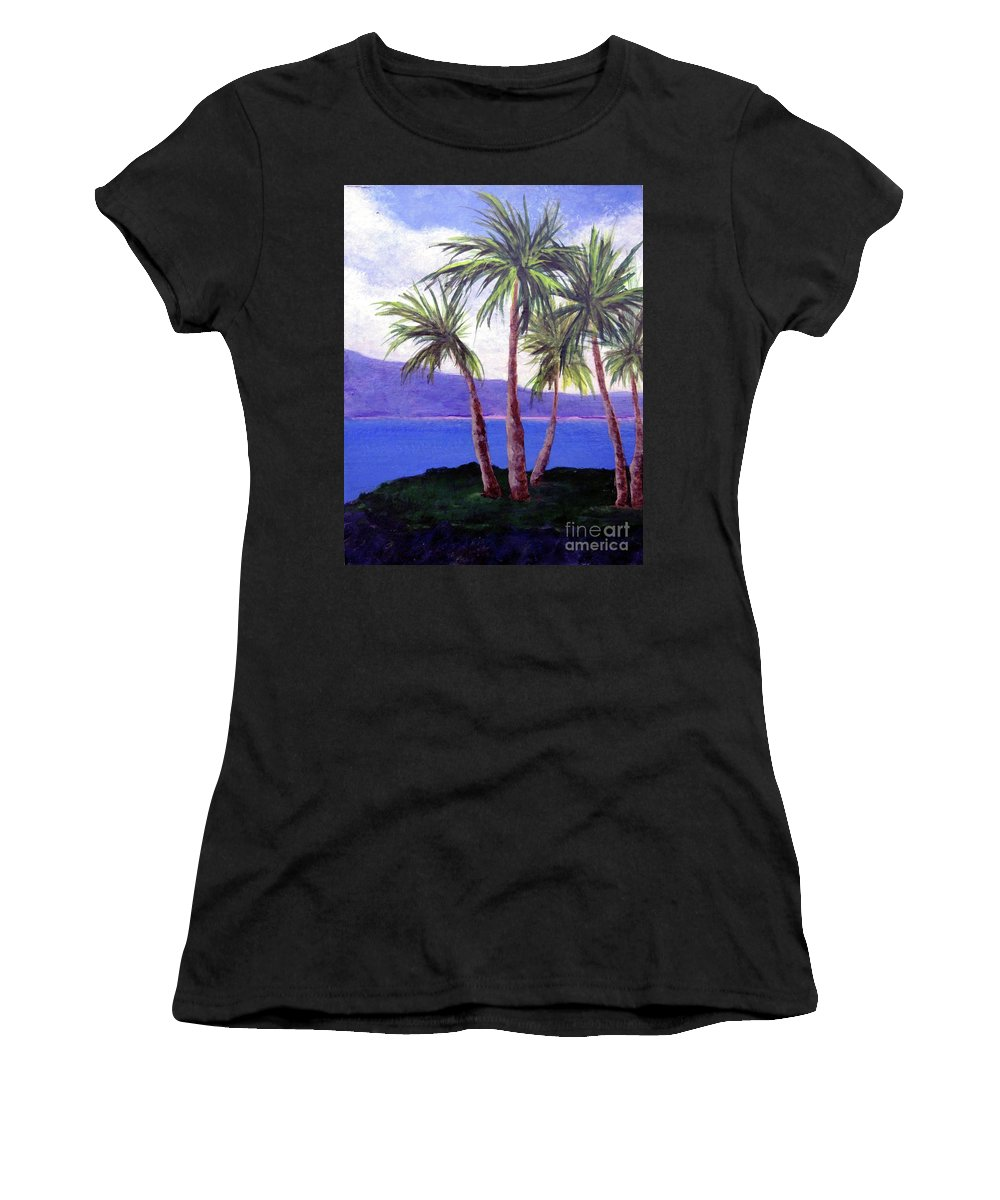 Ocean Women's T-Shirt featuring the painting The Palms by Susan Plenzick