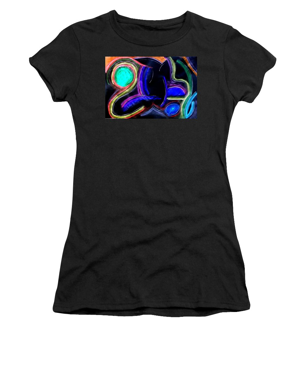 Rooster Women's T-Shirt (Athletic Fit) featuring the painting The Pheasant by Daniel Piskorski