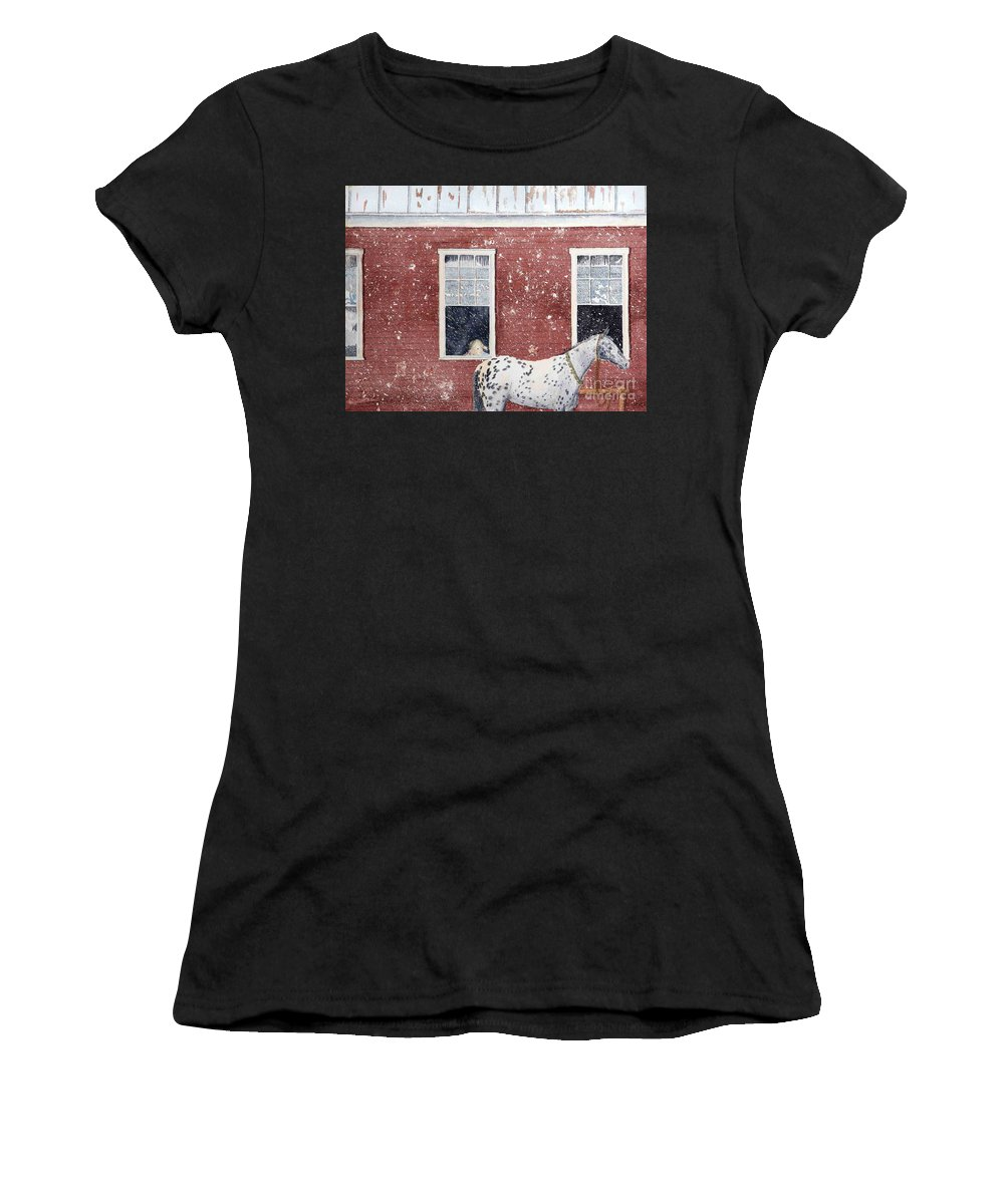 Horses Women's T-Shirt (Athletic Fit) featuring the painting The Ride Home by LeAnne Sowa