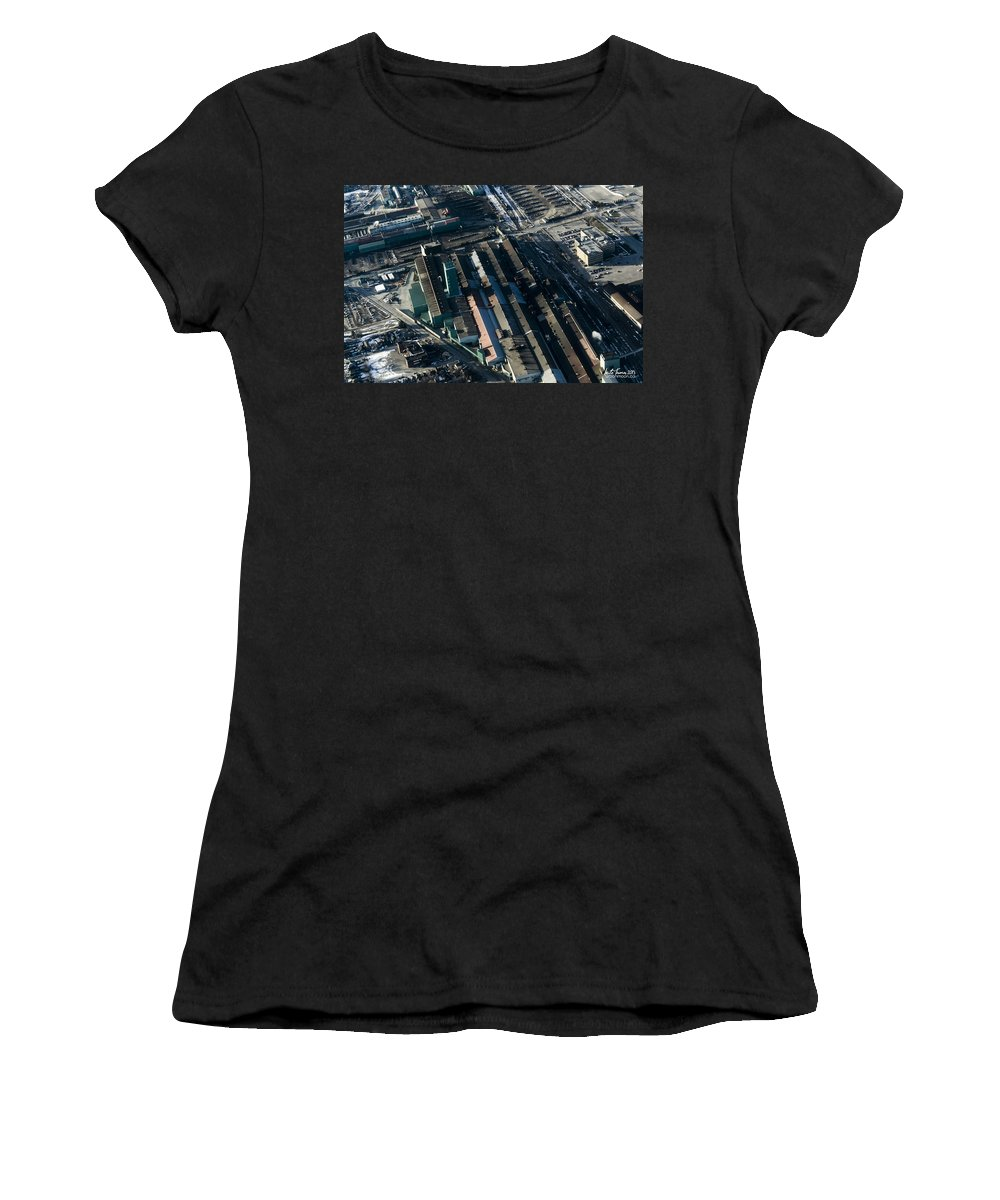 Arcelormittal Dofasco Women's T-Shirt (Athletic Fit) featuring the photograph The Rooftops Of Arcelormittal Dofasco by Urbanmoon Photography