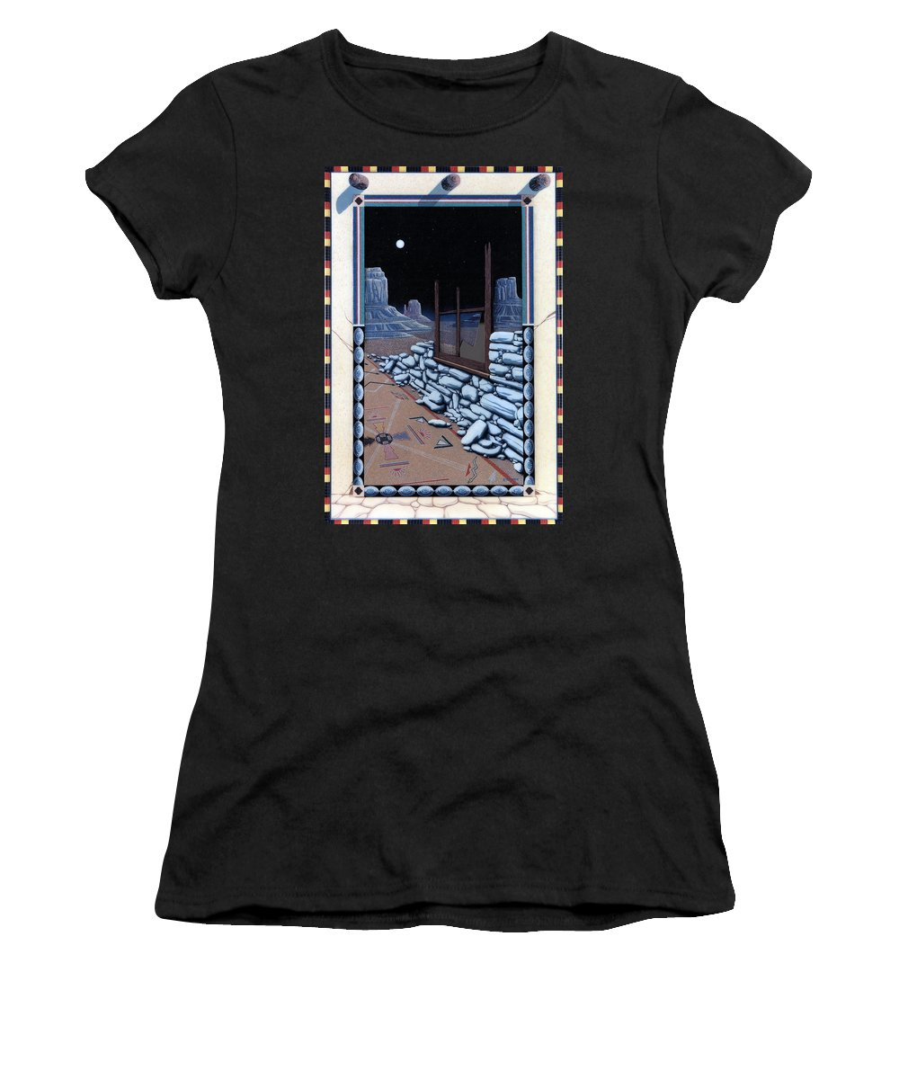 Western Women's T-Shirt (Athletic Fit) featuring the painting The Sand Painting by Ross Edwards