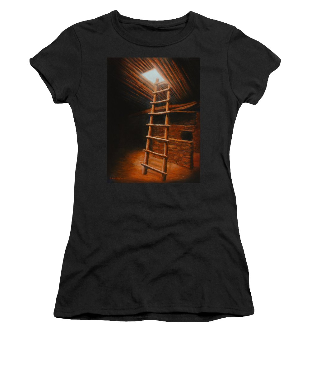 Kiva Women's T-Shirt (Athletic Fit) featuring the painting The Second World by Jerry McElroy