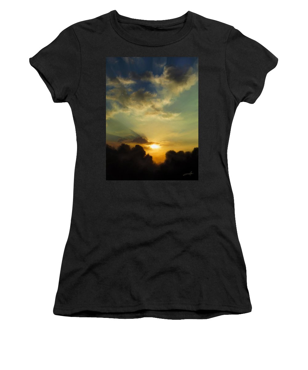 Sunset Women's T-Shirt featuring the digital art The Setting Sun by Dale Jackson