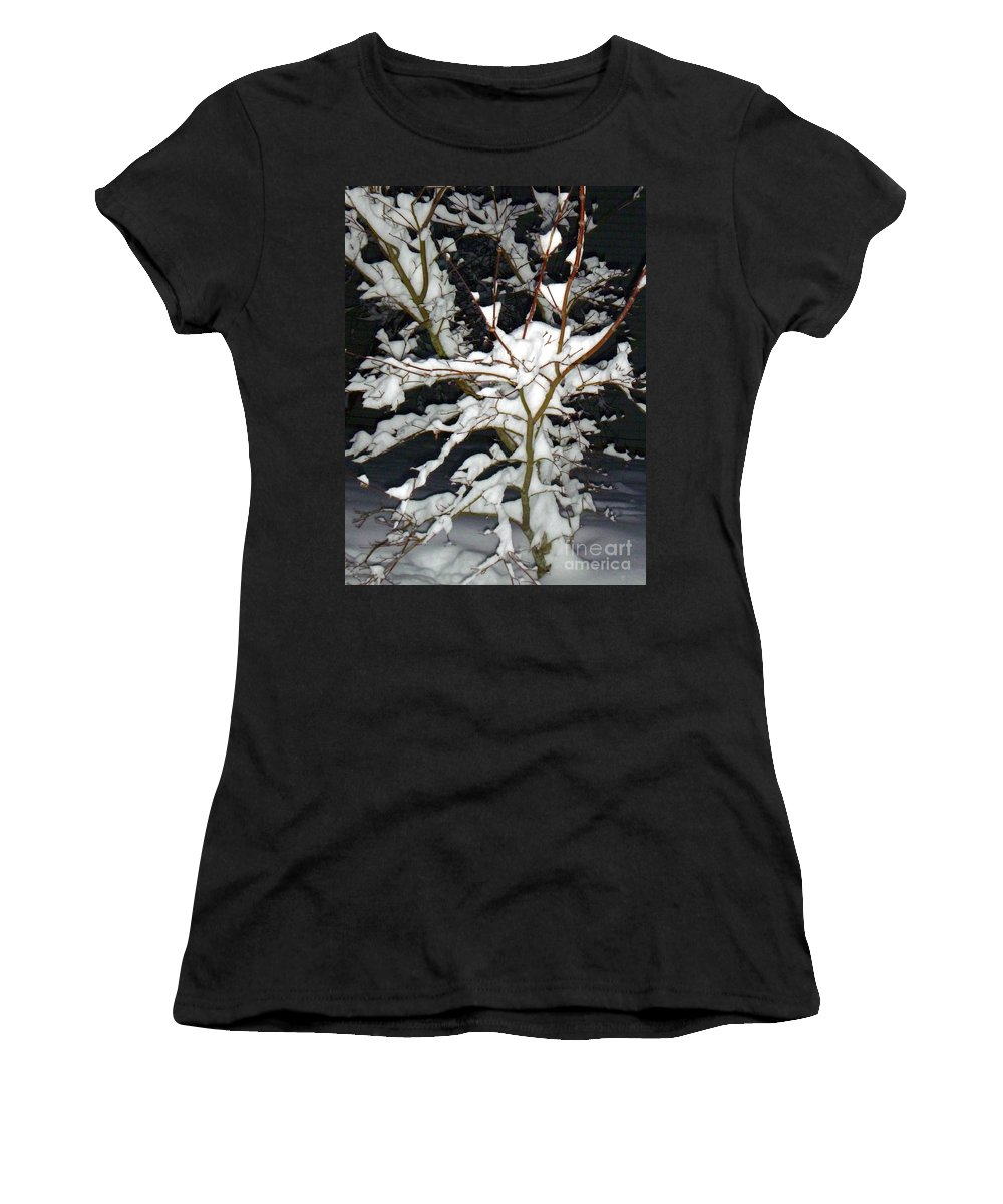 Snow Women's T-Shirt featuring the photograph The Snowy Tree II by Alys Caviness-Gober