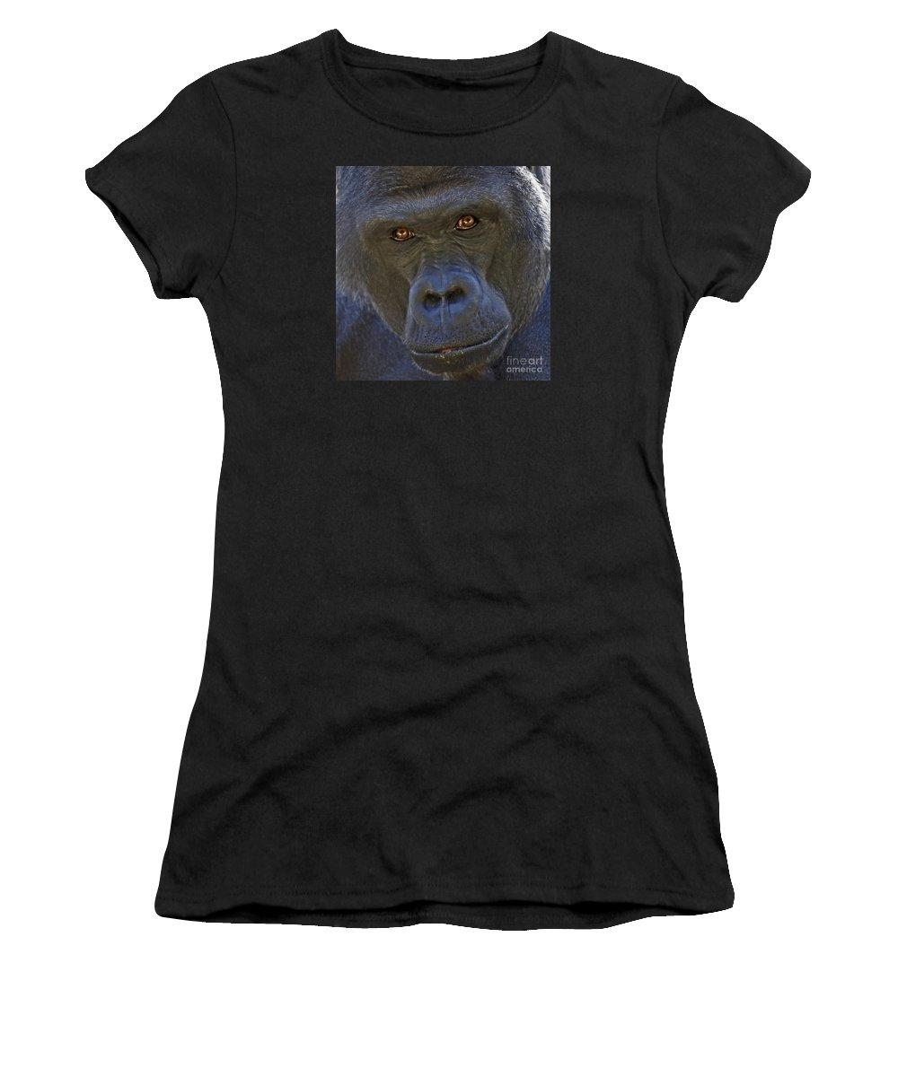 Gorilla Women's T-Shirt featuring the photograph The Stare by Liz Leyden