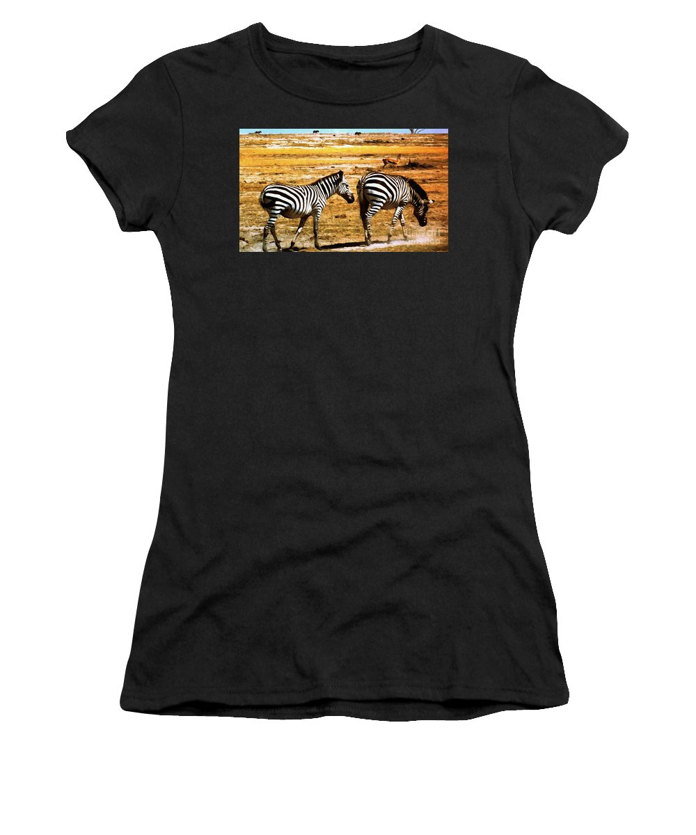 Zebra Women's T-Shirt (Athletic Fit) featuring the photograph The Tired Zebras by Lydia Holly