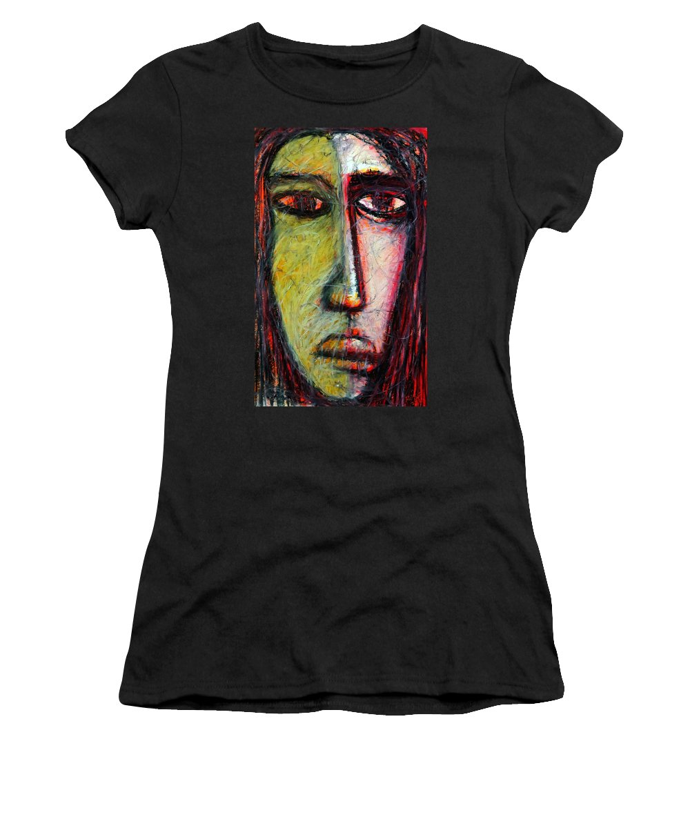 Portrait Women's T-Shirt featuring the pastel The Unseen - 1 by Rabi Khan
