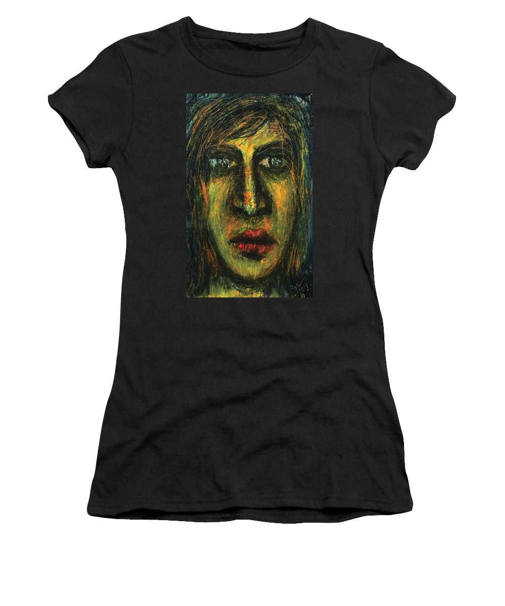 Portrait Women's T-Shirt featuring the pastel The Unseen - 7 by Rabi Khan