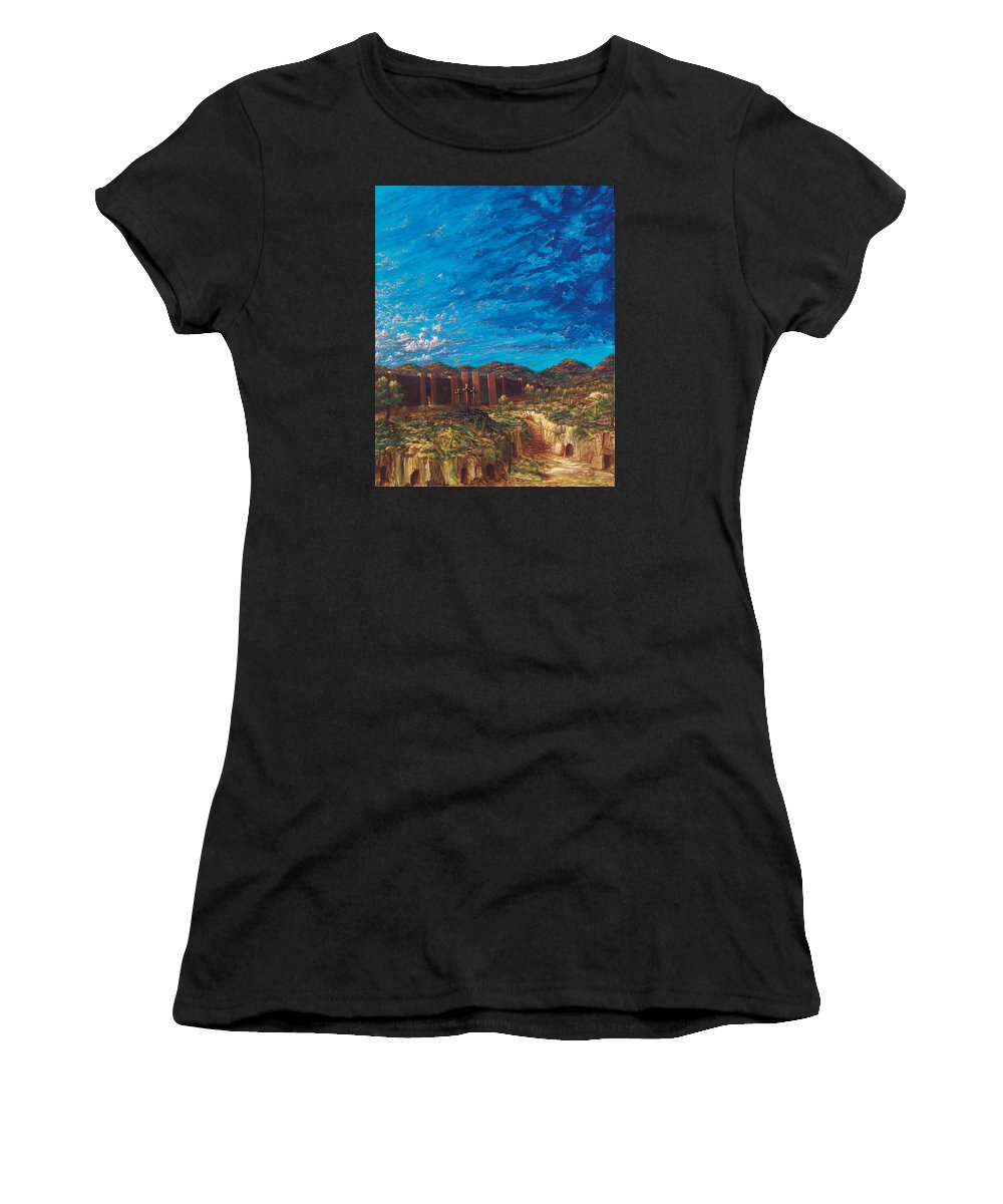 Christian Women's T-Shirt (Athletic Fit) featuring the painting The Unseen Is Eternal by Robert Wright