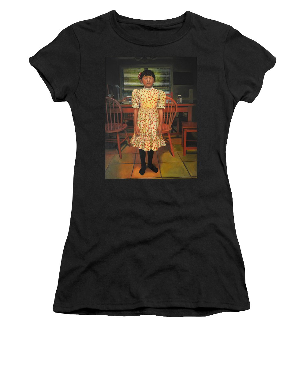 Children Paintings Women's T-Shirt (Athletic Fit) featuring the painting The Valentine Dress by Thu Nguyen
