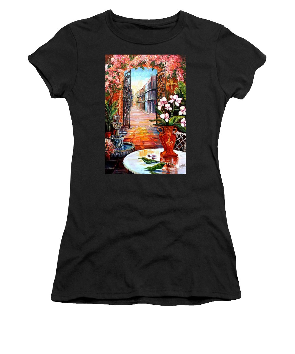 New Orleans Women's T-Shirt featuring the painting The View From A Courtyard by Diane Millsap