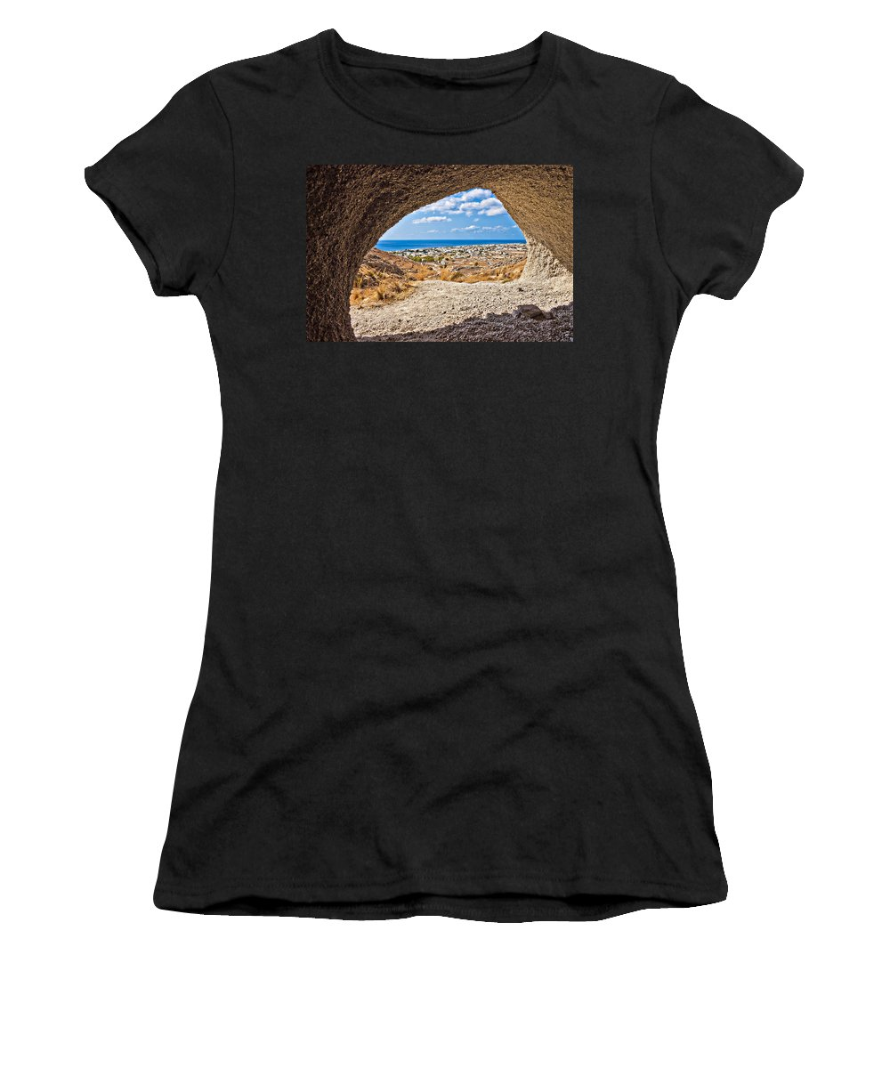 Pumice Women's T-Shirt (Athletic Fit) featuring the photograph the view of Perissa by Meirion Matthias