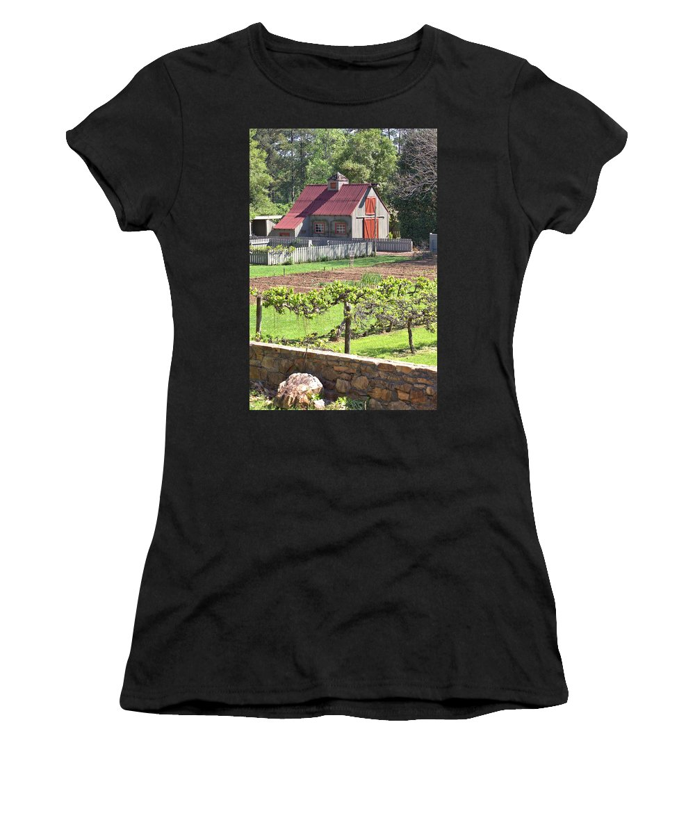 8316 Women's T-Shirt (Athletic Fit) featuring the photograph The Vineyard Barn by Gordon Elwell