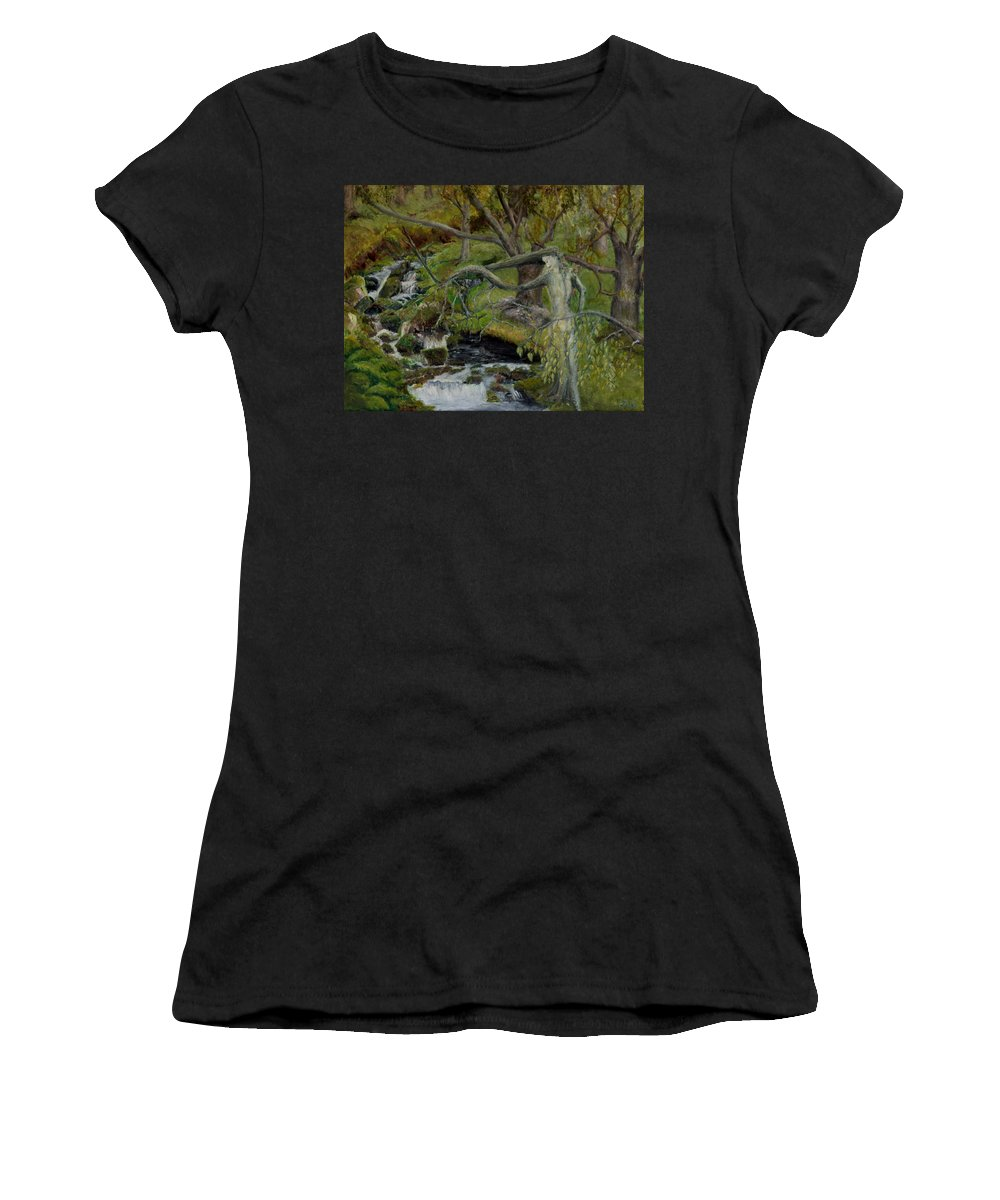 Landscape Women's T-Shirt featuring the painting The Willow Woman Washing Her Hair by Kathryn Bell