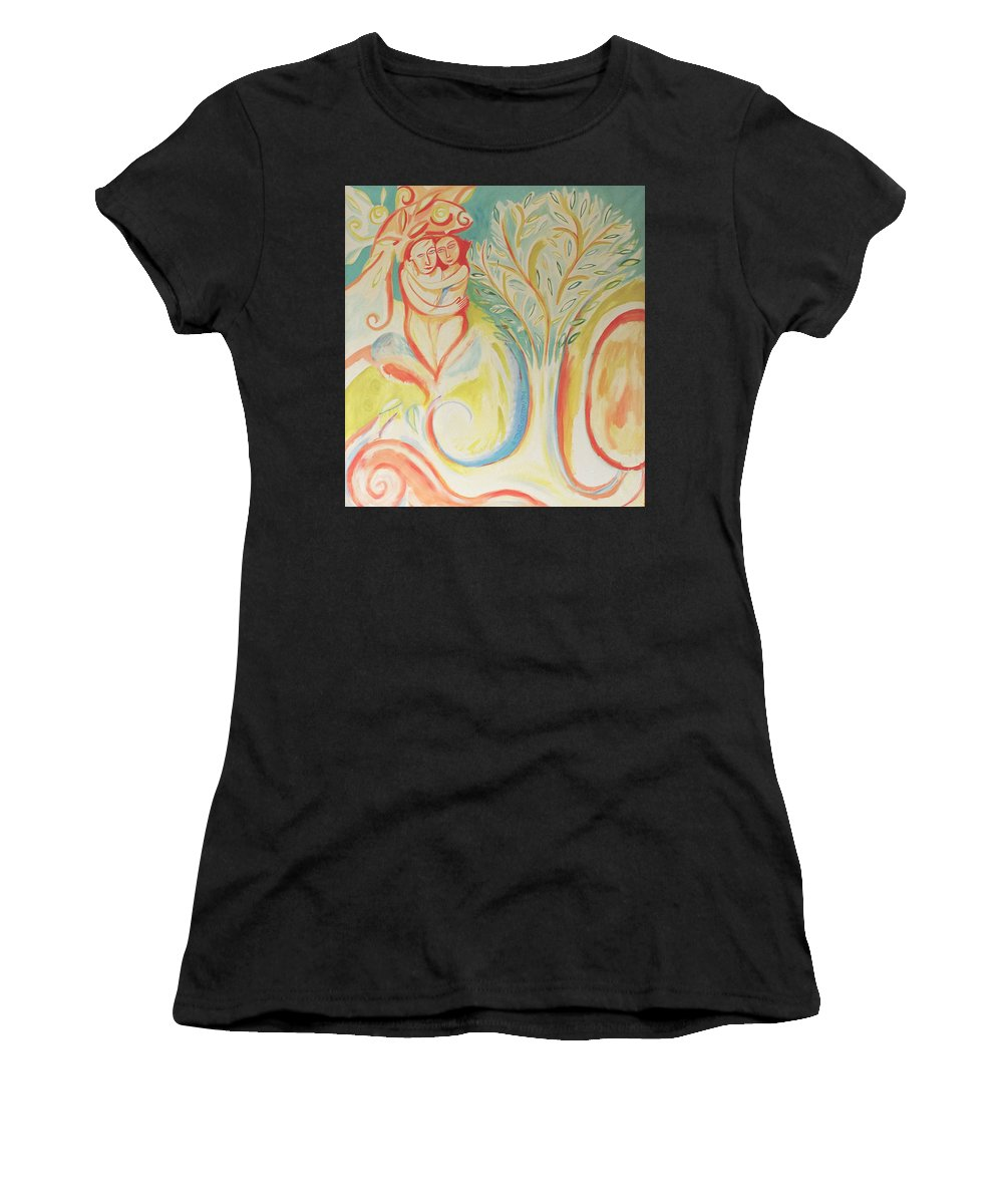 Two Figures Embracing Hugging Women's T-Shirt featuring the painting In A Garden by Jelila