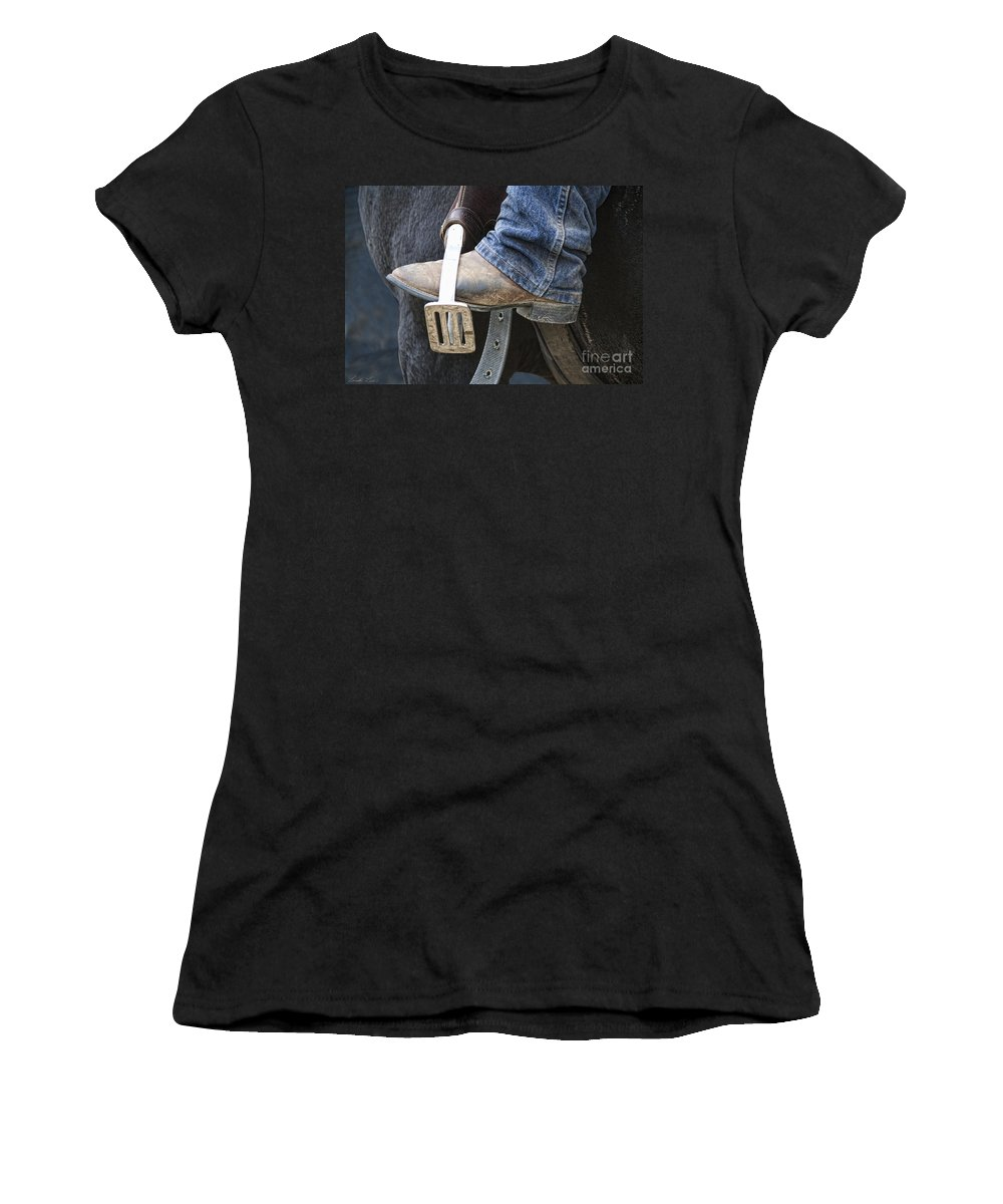Boot Women's T-Shirt (Athletic Fit) featuring the photograph These Boots Are Made For Working by Linda Lees