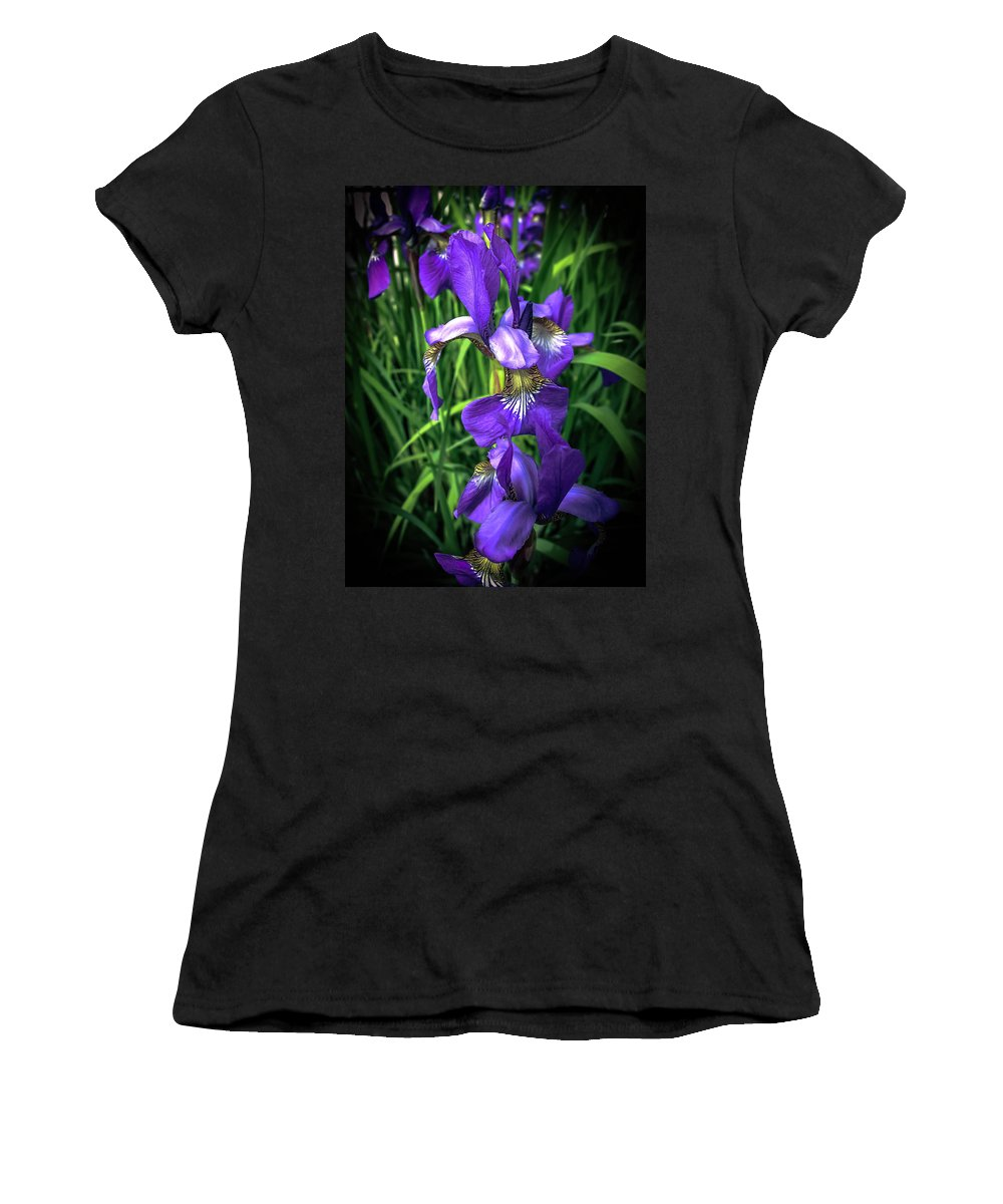 Iris Women's T-Shirt (Athletic Fit) featuring the photograph Colors Of Iris by Sherman Perry