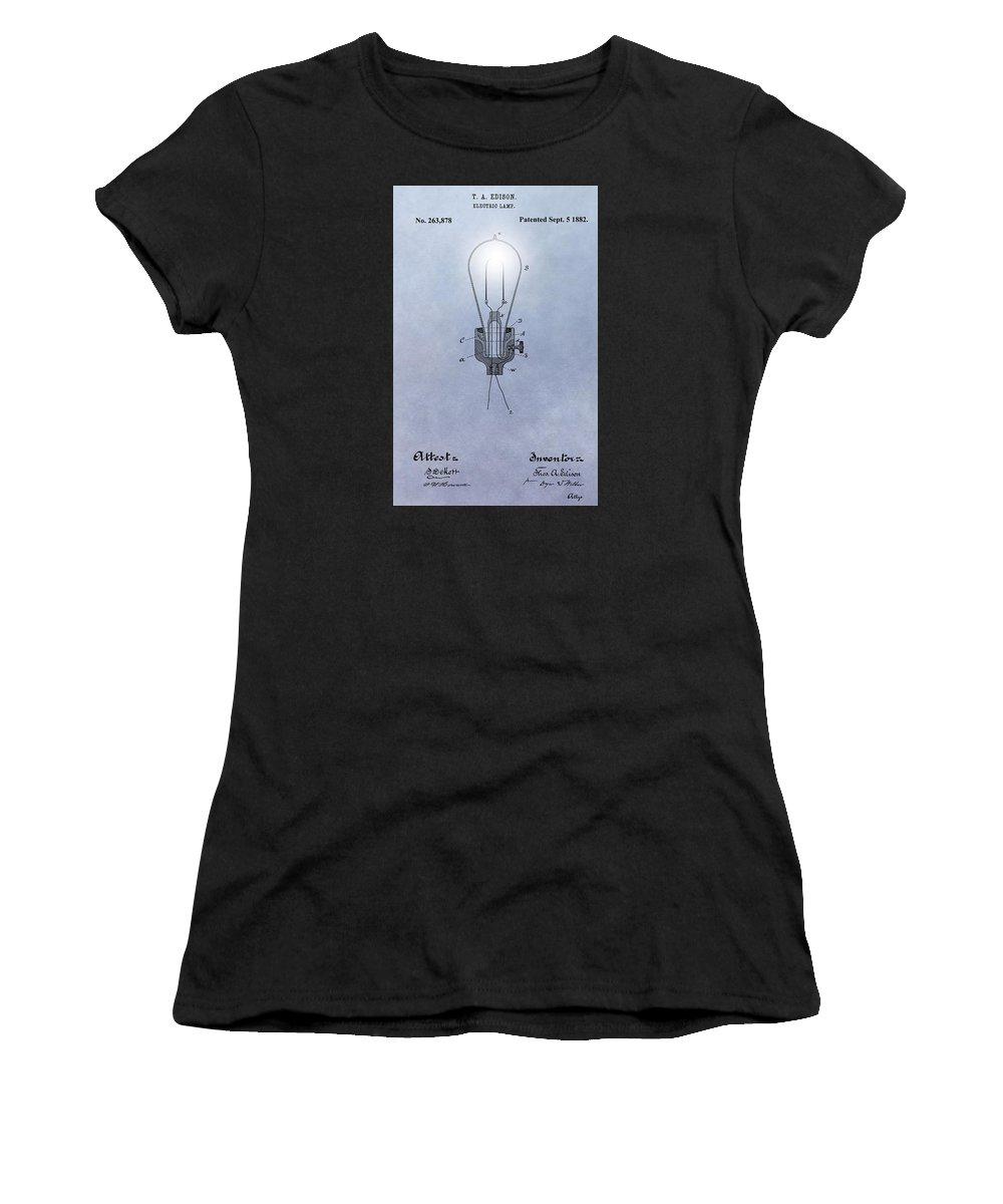 Thomas Edison Electric Lamp Patent Women's T-Shirt featuring the digital art Thomas Edison Electric Lamp Patent by Dan Sproul