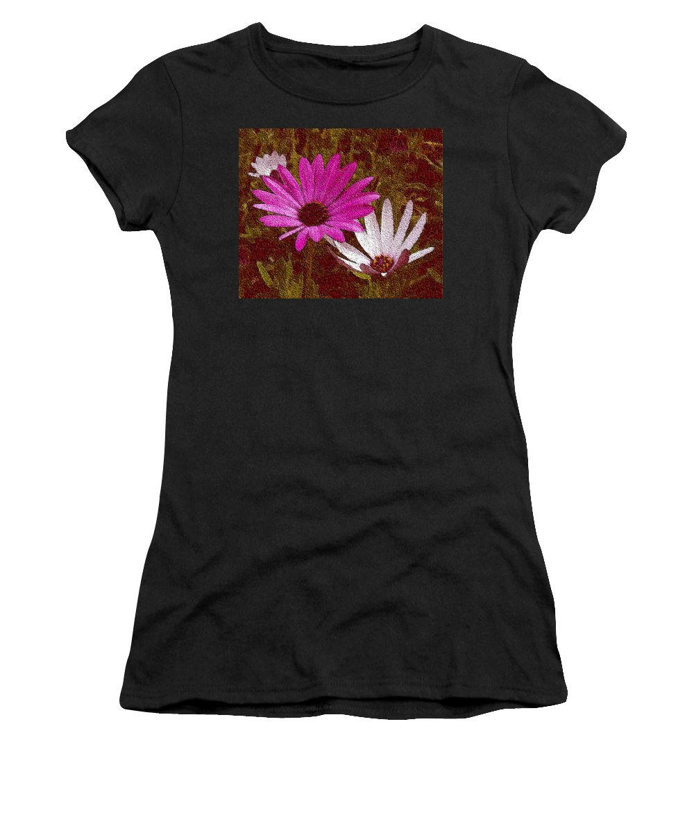Daisies Women's T-Shirt featuring the photograph Three Flowers On Maroon by Ben and Raisa Gertsberg