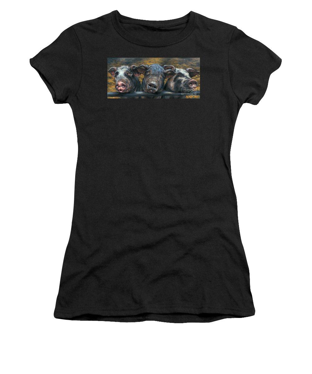 Pig Women's T-Shirt featuring the painting Three Little Piglets by Dina Perejogina