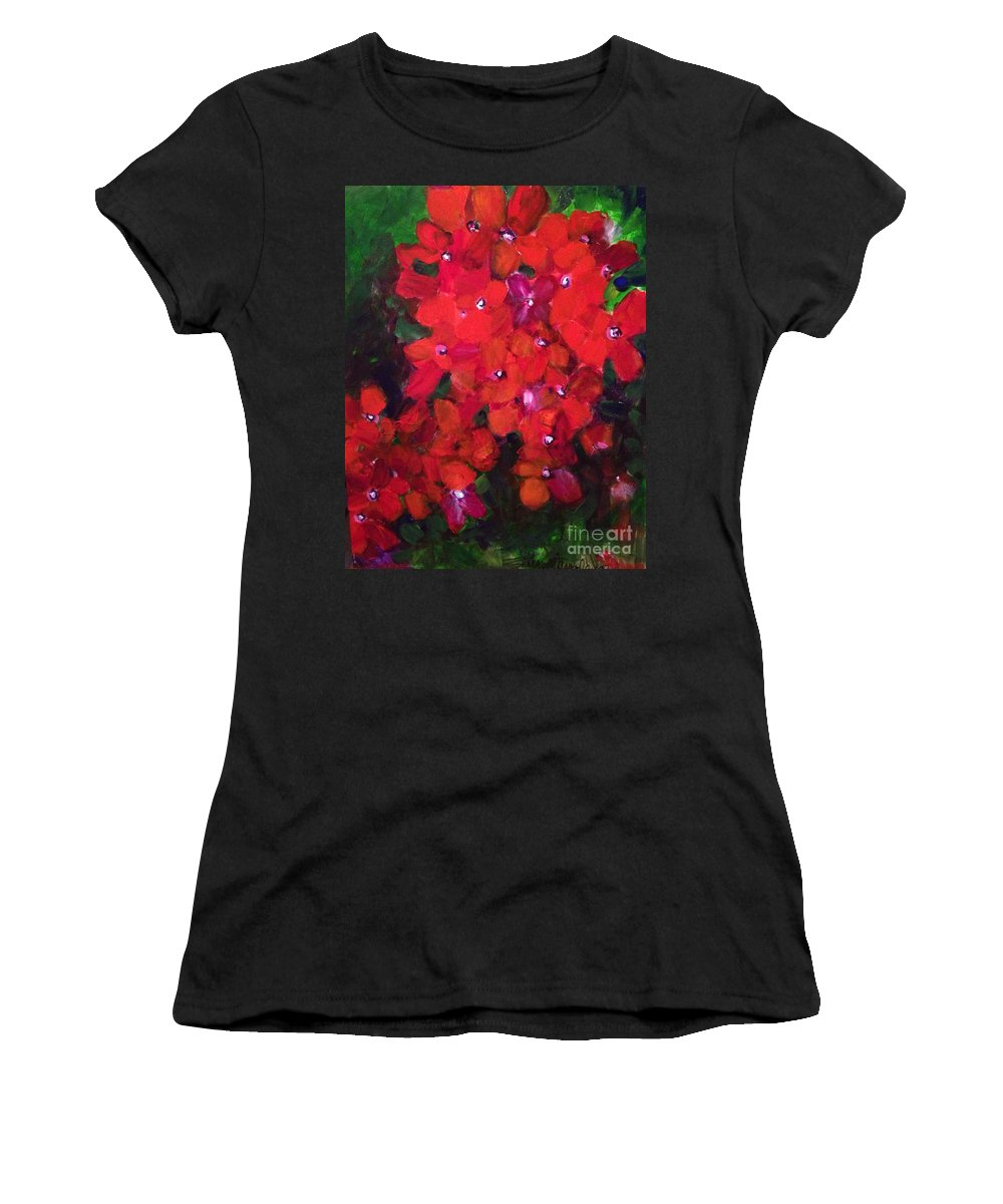 Floral Women's T-Shirt (Athletic Fit) featuring the painting Thriving To Be Noticed by Sherry Harradence