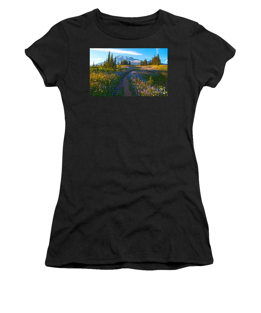 Rainier Women's T-Shirt (Athletic Fit) featuring the photograph Through The Golden Meadows by Mike Reid