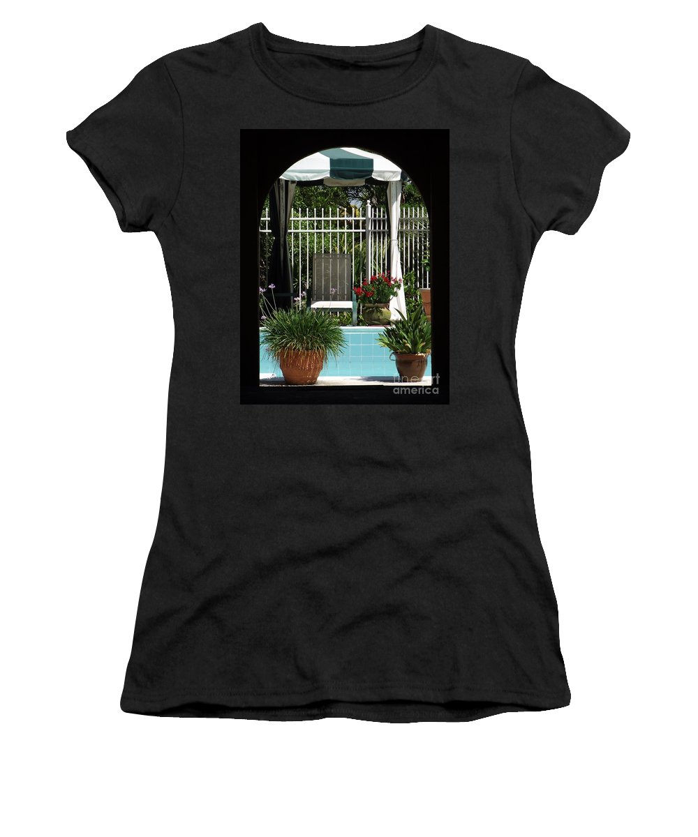 Portico Women's T-Shirt (Athletic Fit) featuring the photograph Through The Potico by Michelle Welles