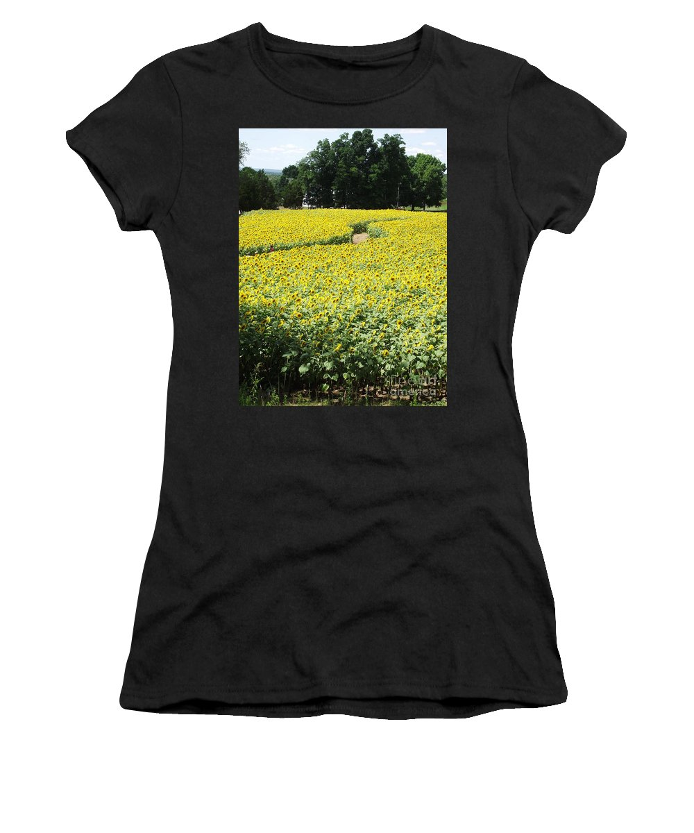Sunflower Fields Women's T-Shirt featuring the photograph Through The Sunflowers by Michelle Welles