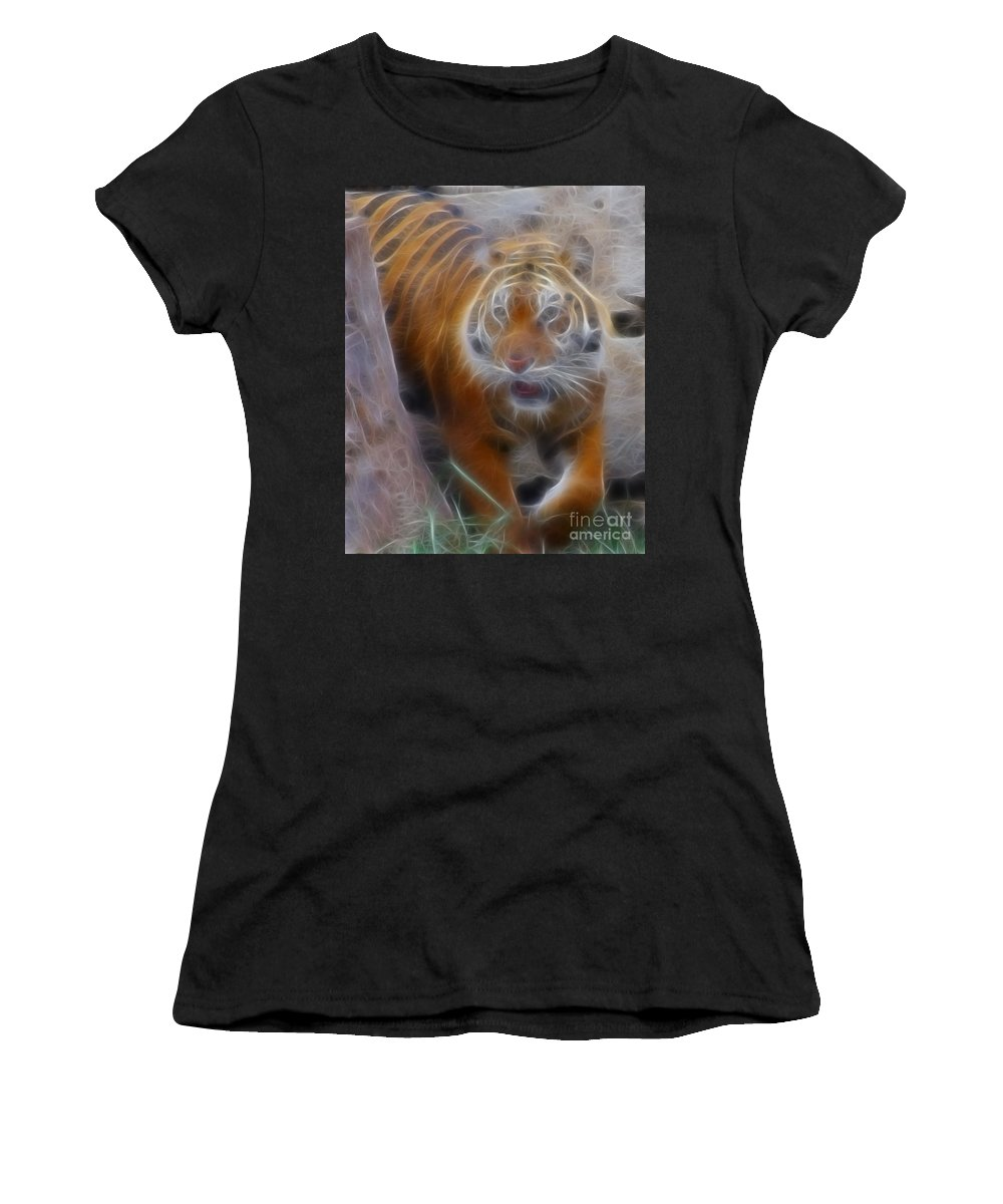 Tiger Women's T-Shirt (Athletic Fit) featuring the photograph Tiger-5362-fractal by Gary Gingrich Galleries