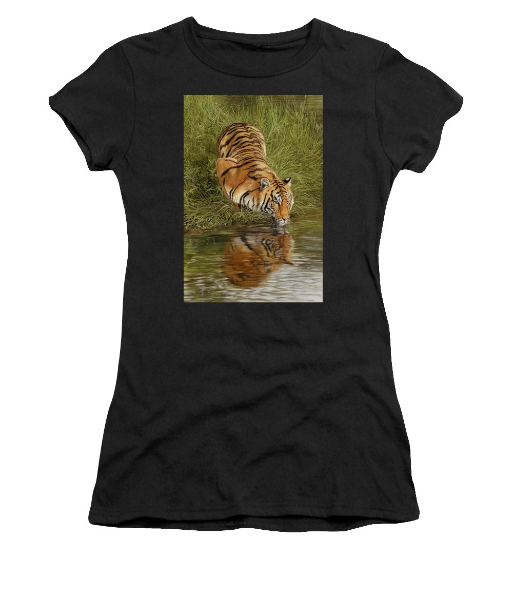 Tiger Women's T-Shirt (Athletic Fit) featuring the painting Tiger by David Stribbling